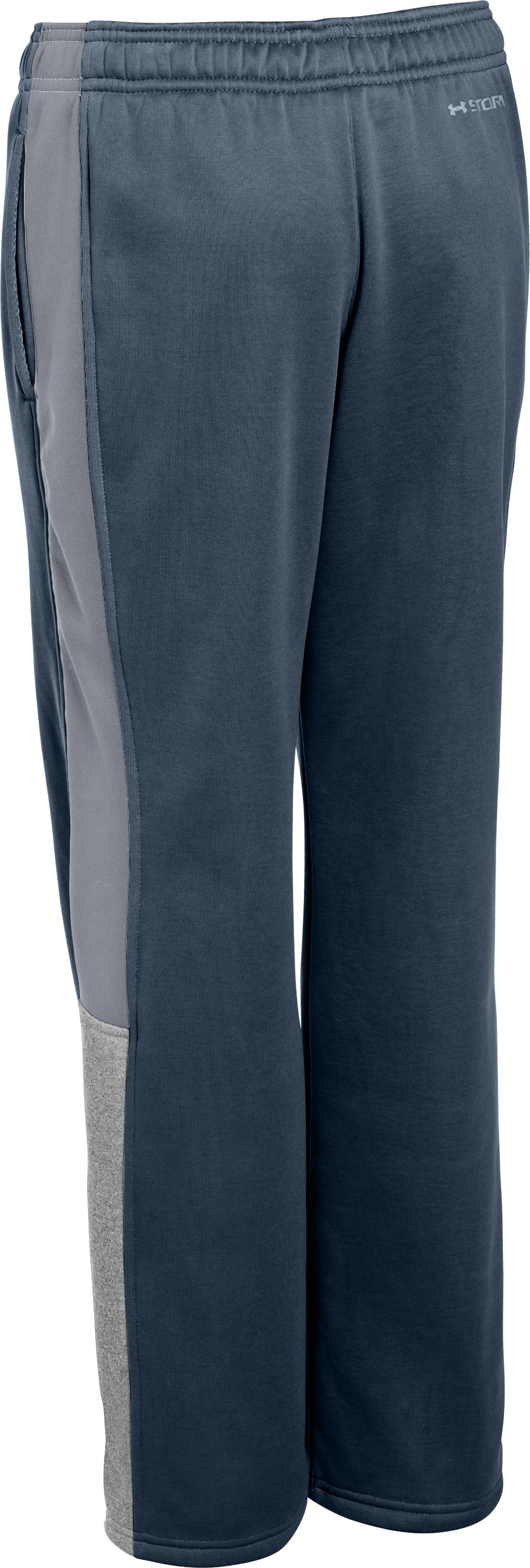 Boys' Armour® Fleece Storm Strokes Warm-Up Pants 2.0, Mechanic Blue, undefined