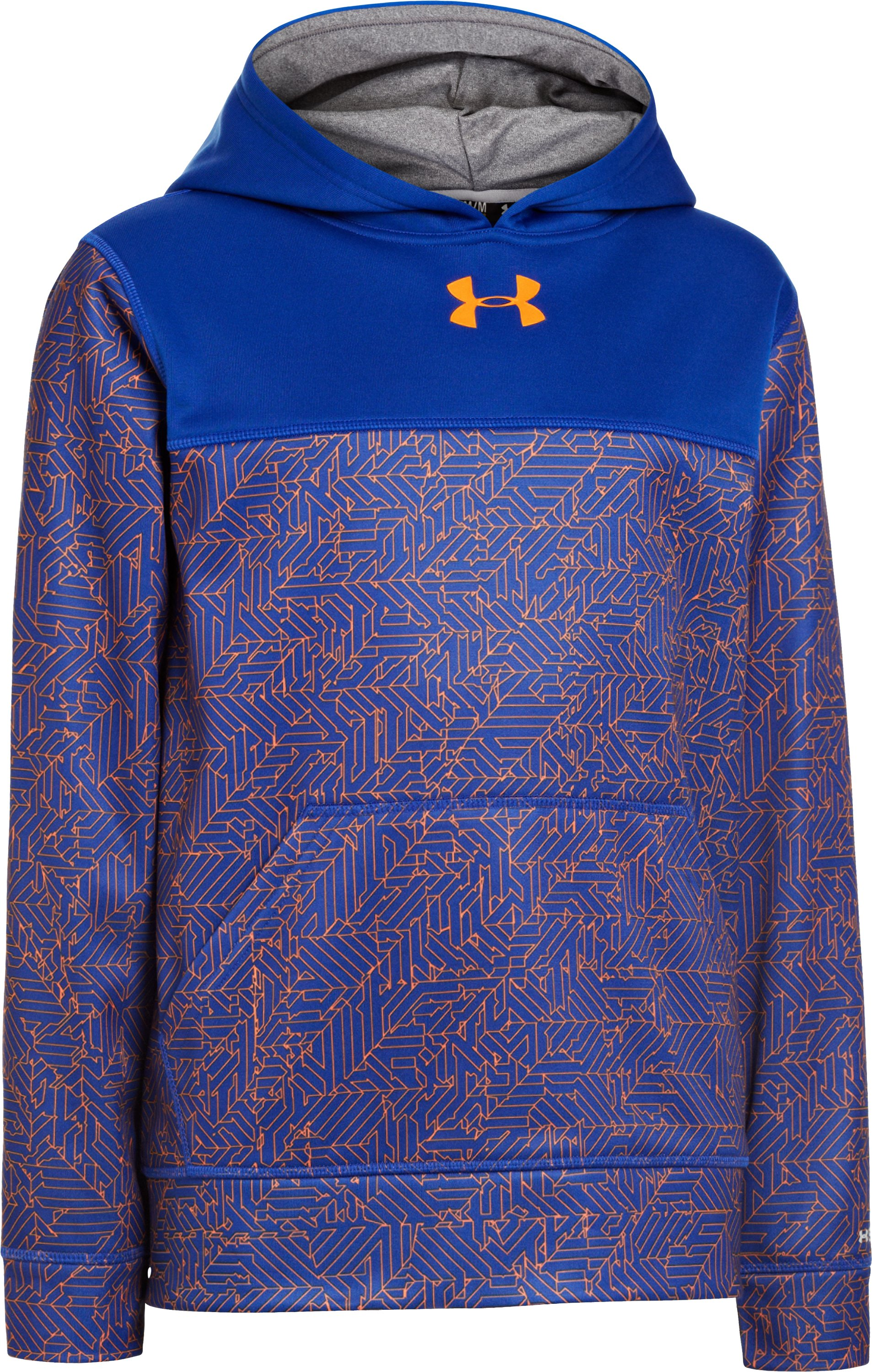 Boys' Armour® Fleece Storm Printed Blocked Hoodie, Royal, zoomed image