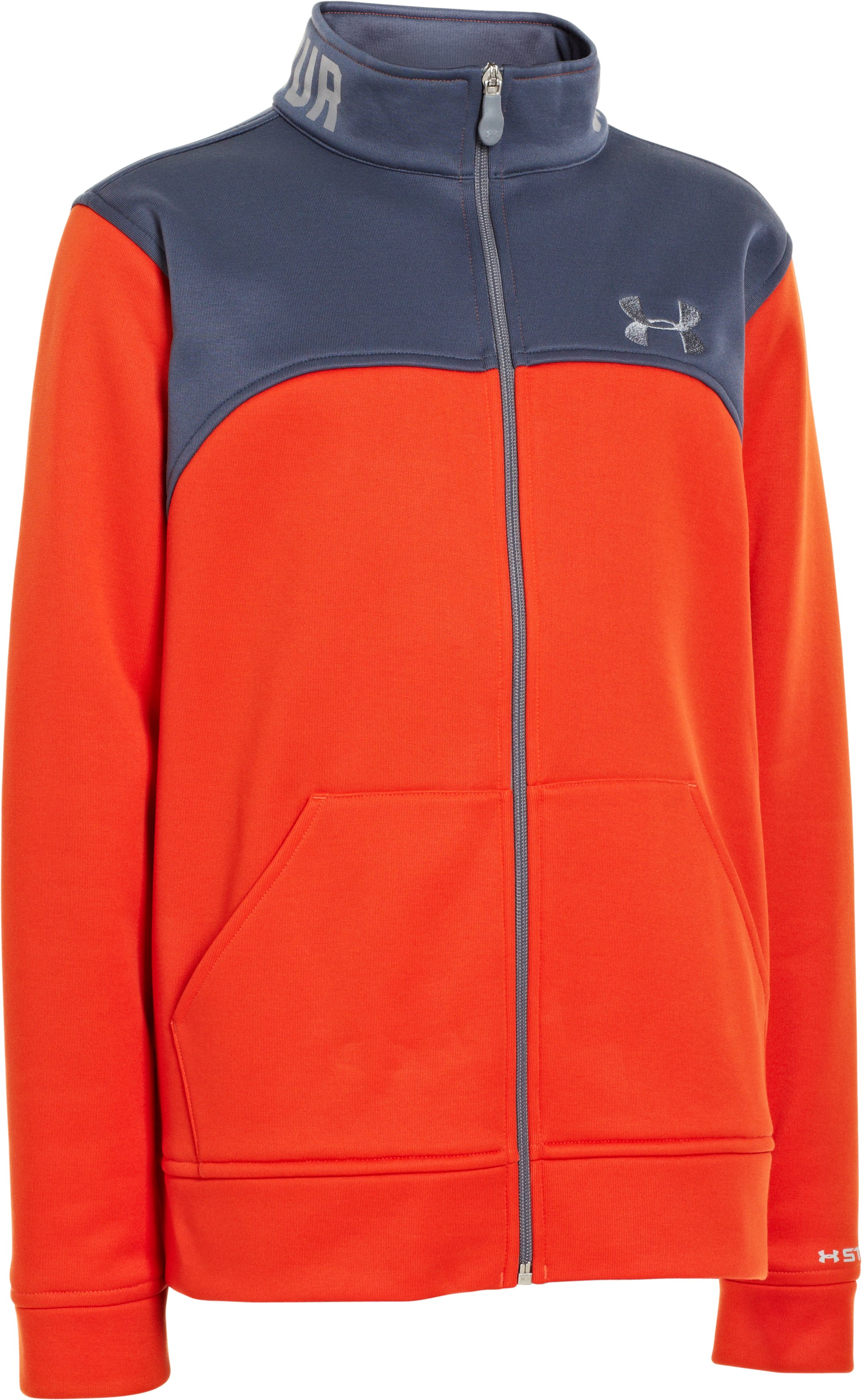 Boys' Armour® Fleece Storm Jacket, Dark Orange, zoomed image