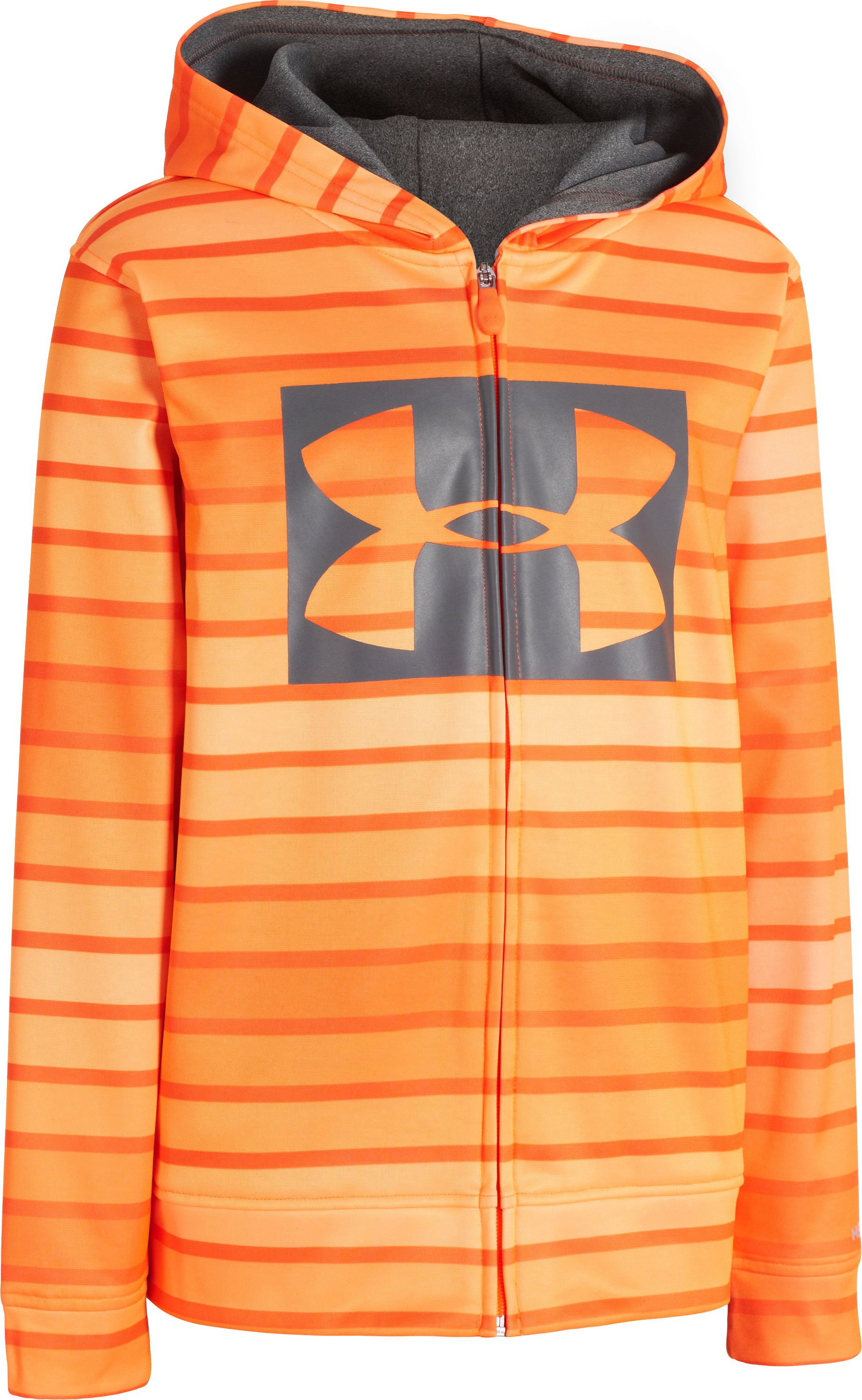 Boys' Armour® Fleece Storm Printed Full Zip Hoodie, Blaze Orange, zoomed image