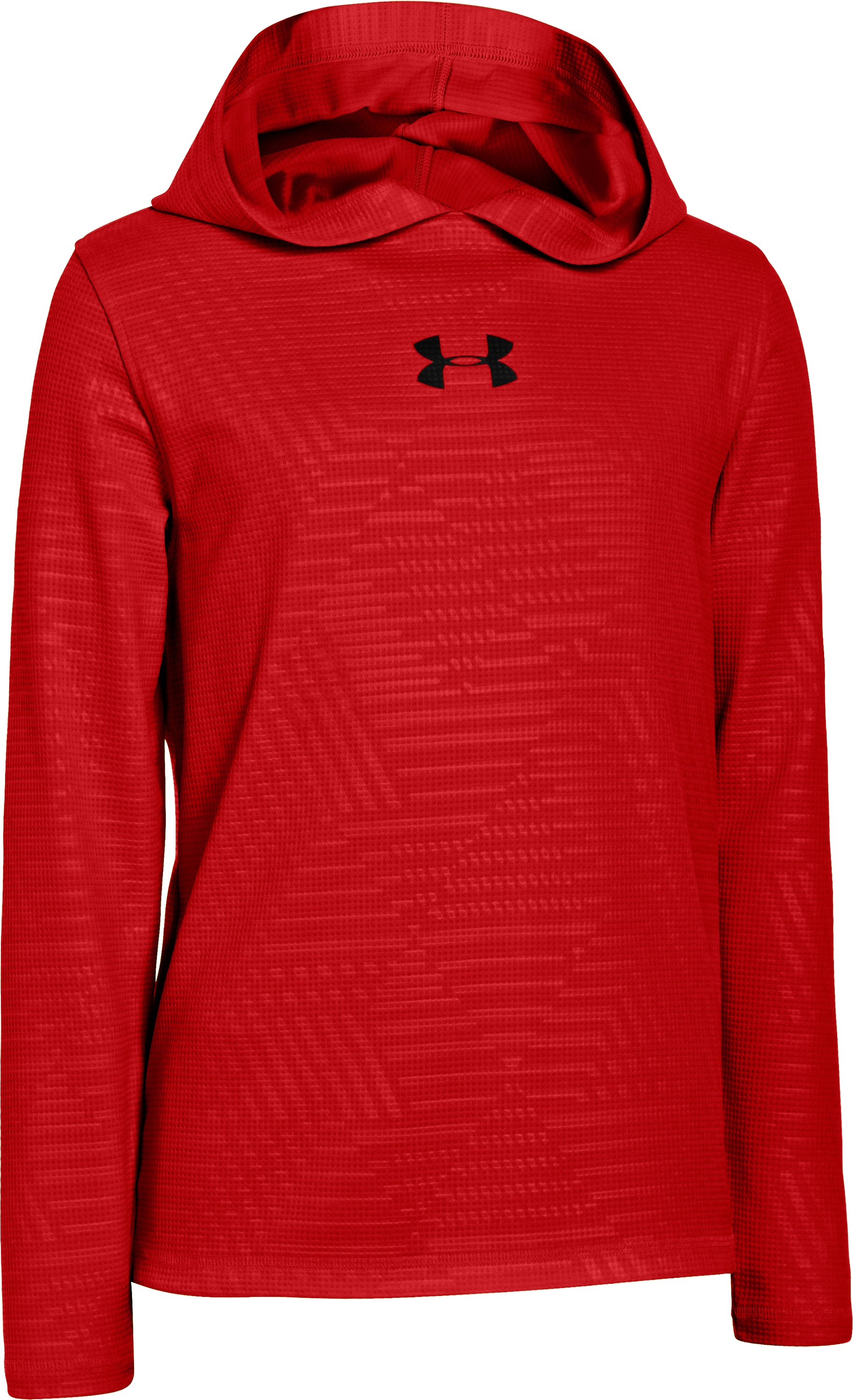 Boys' UA Momentum Waffle Hoodie, Red, zoomed image