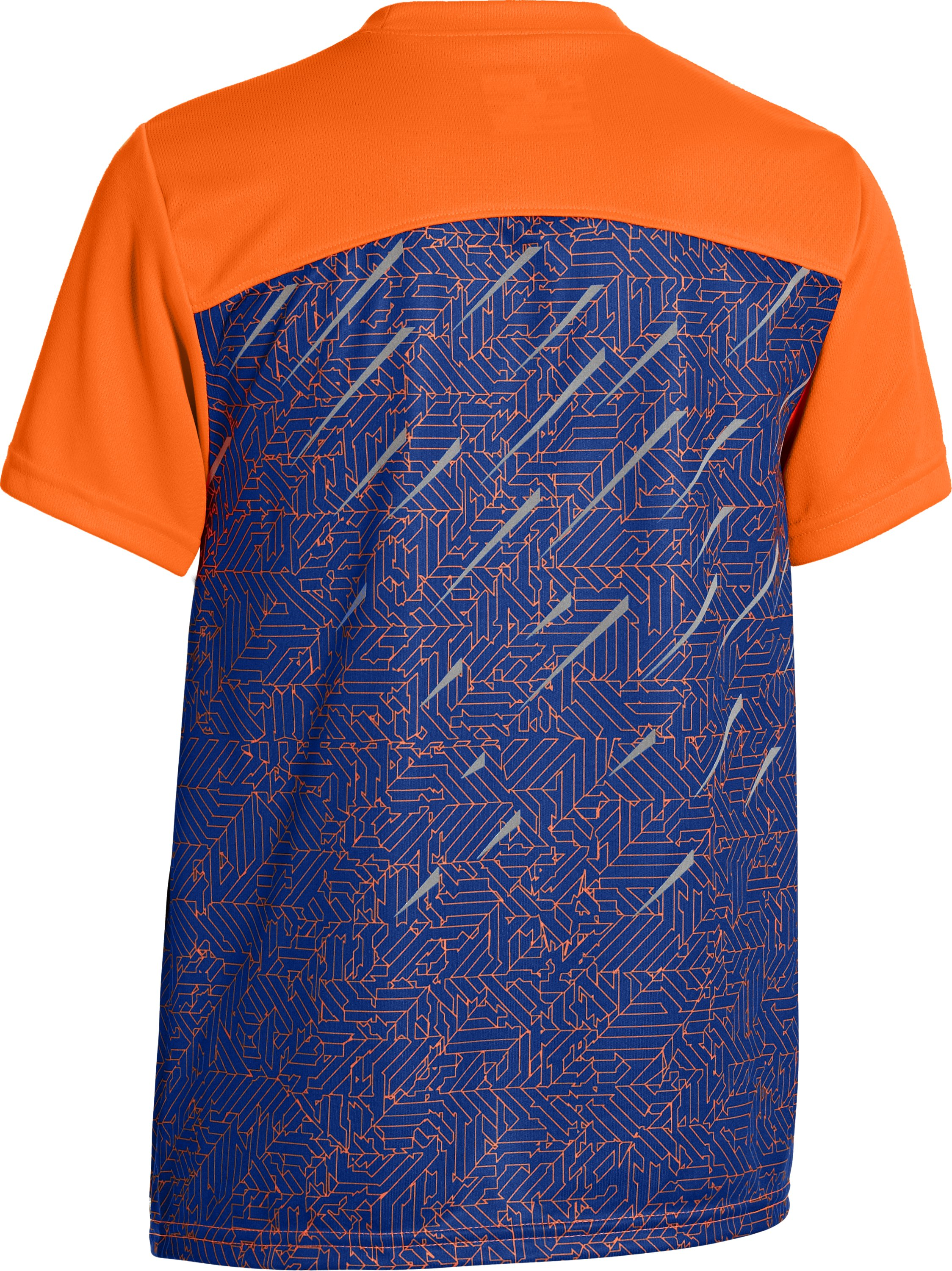 Boys' UA Watch Out Short Sleeve, Blaze Orange