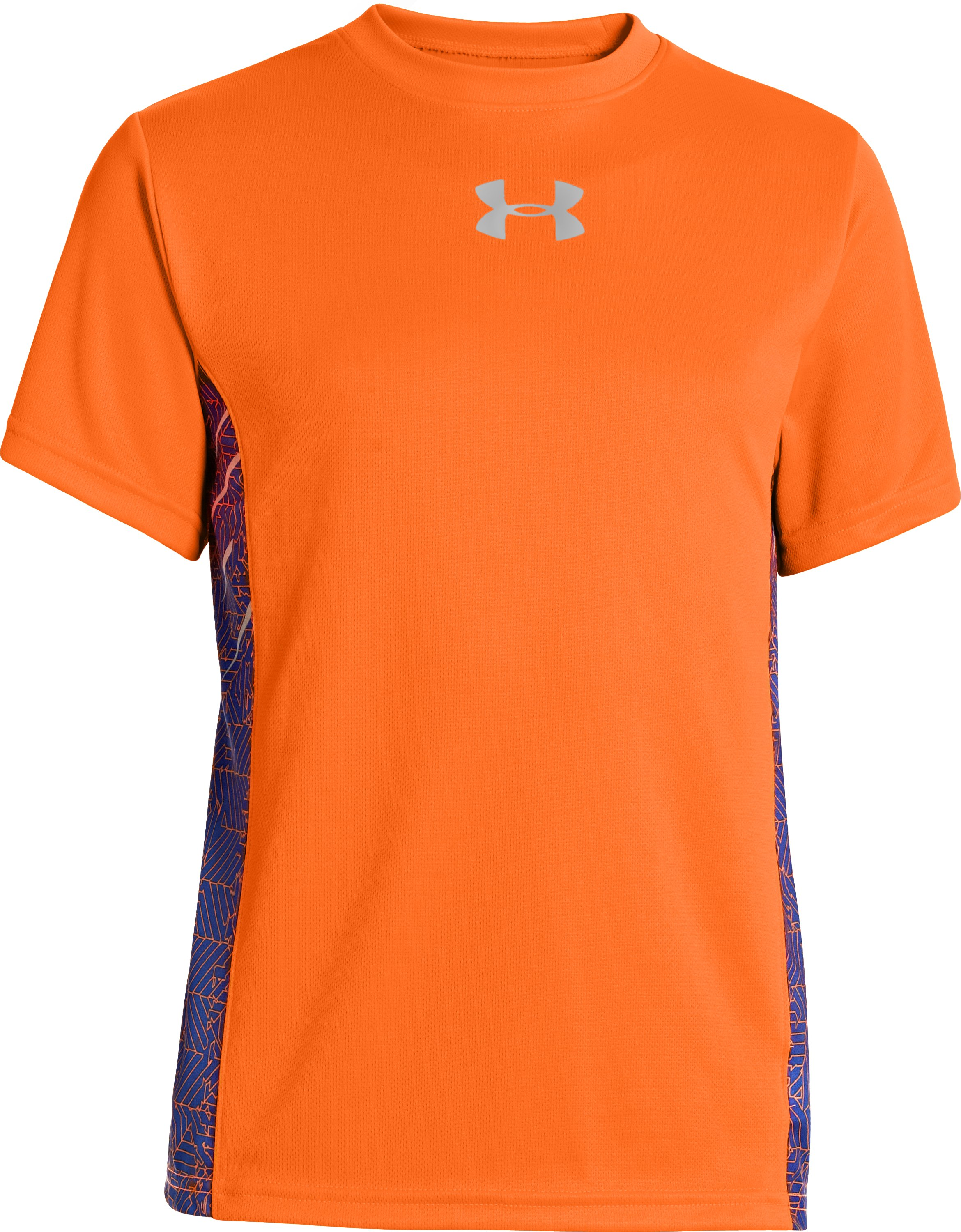 Boys' UA Watch Out Short Sleeve, Blaze Orange, zoomed image