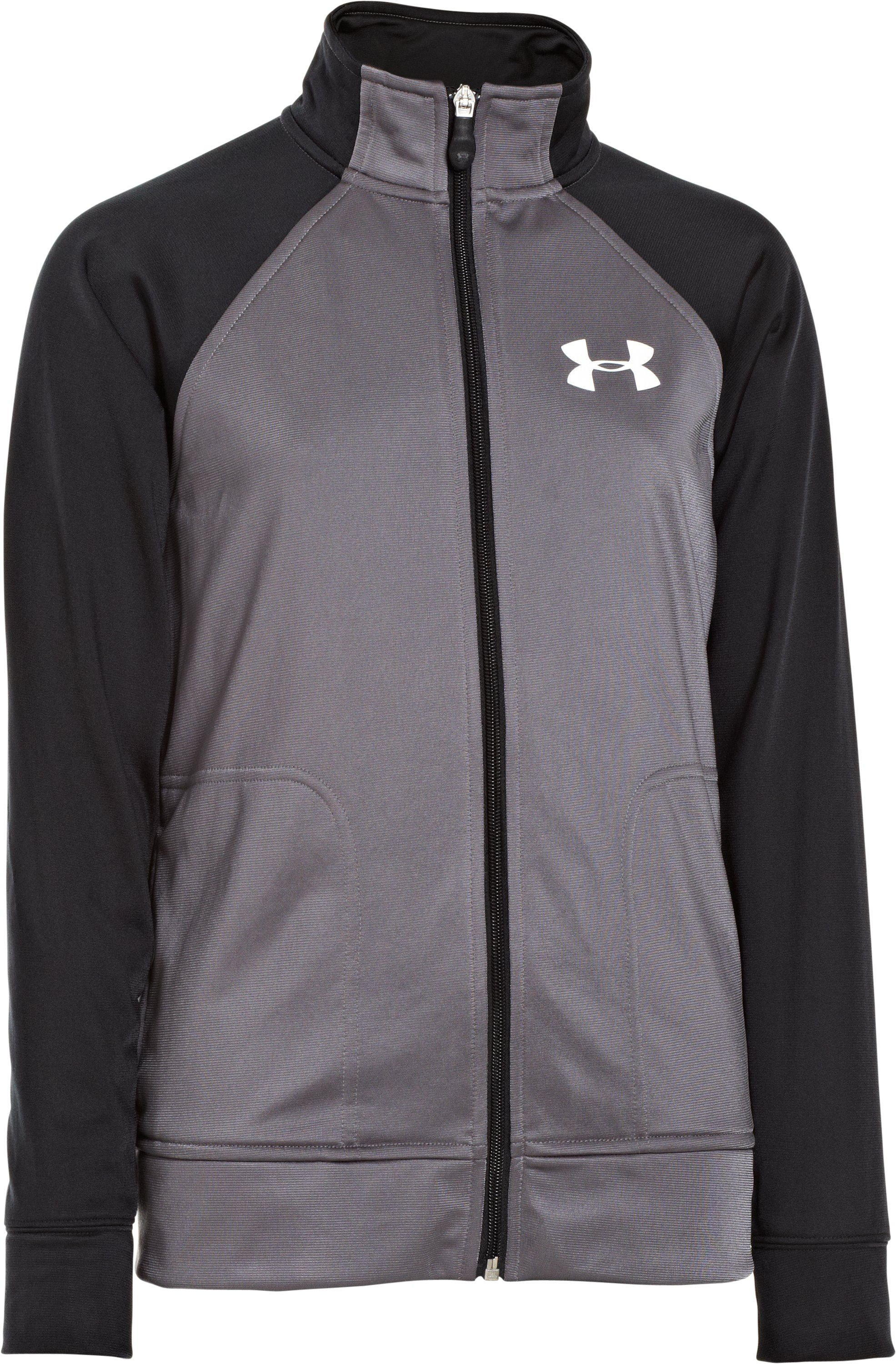 Boys' UA Brawler Knit Warm-Up Jacket 2.0, Graphite, zoomed image