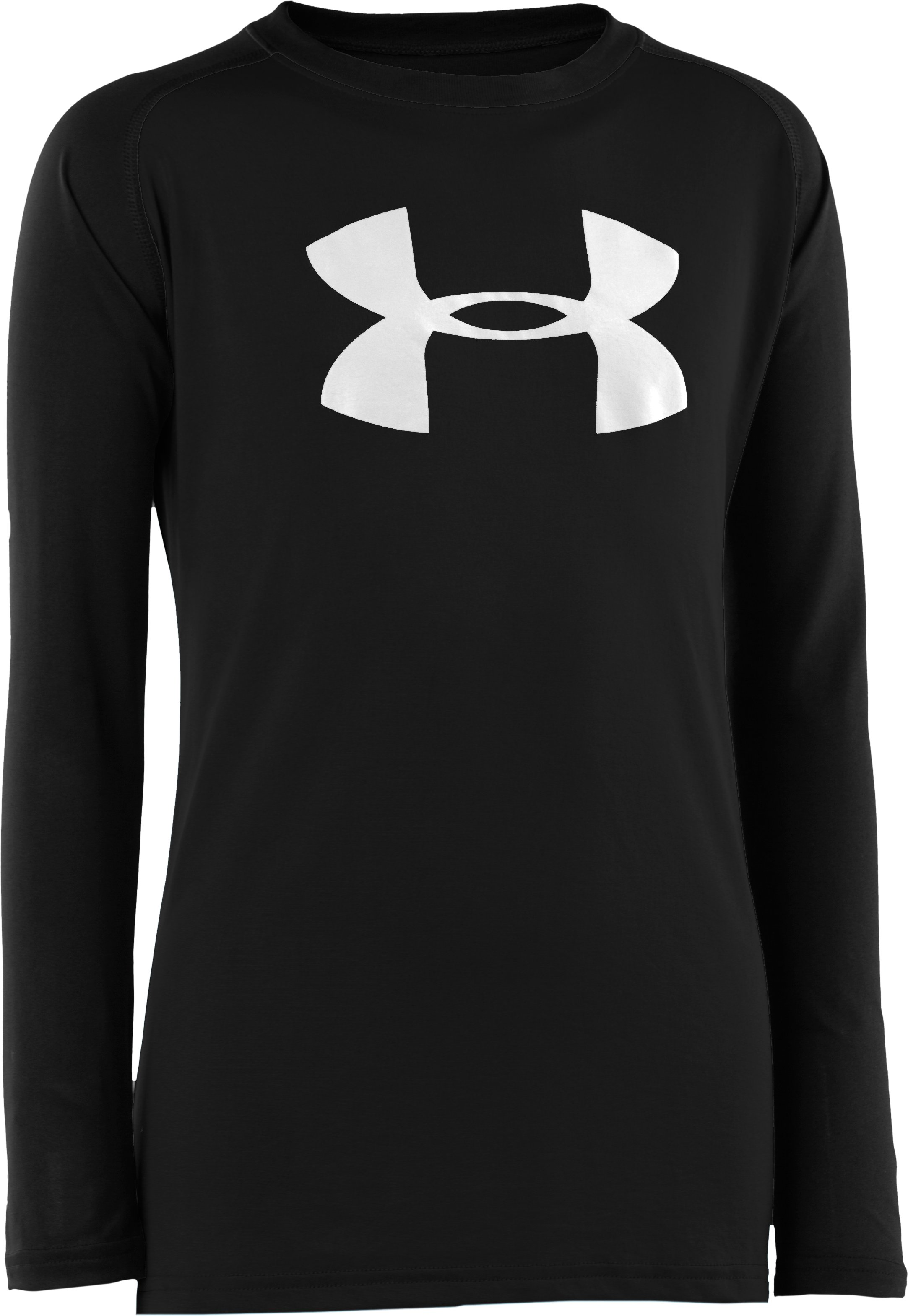 Boys' UA Tech™ Big Logo Long Sleeve T-Shirt, Black , zoomed image