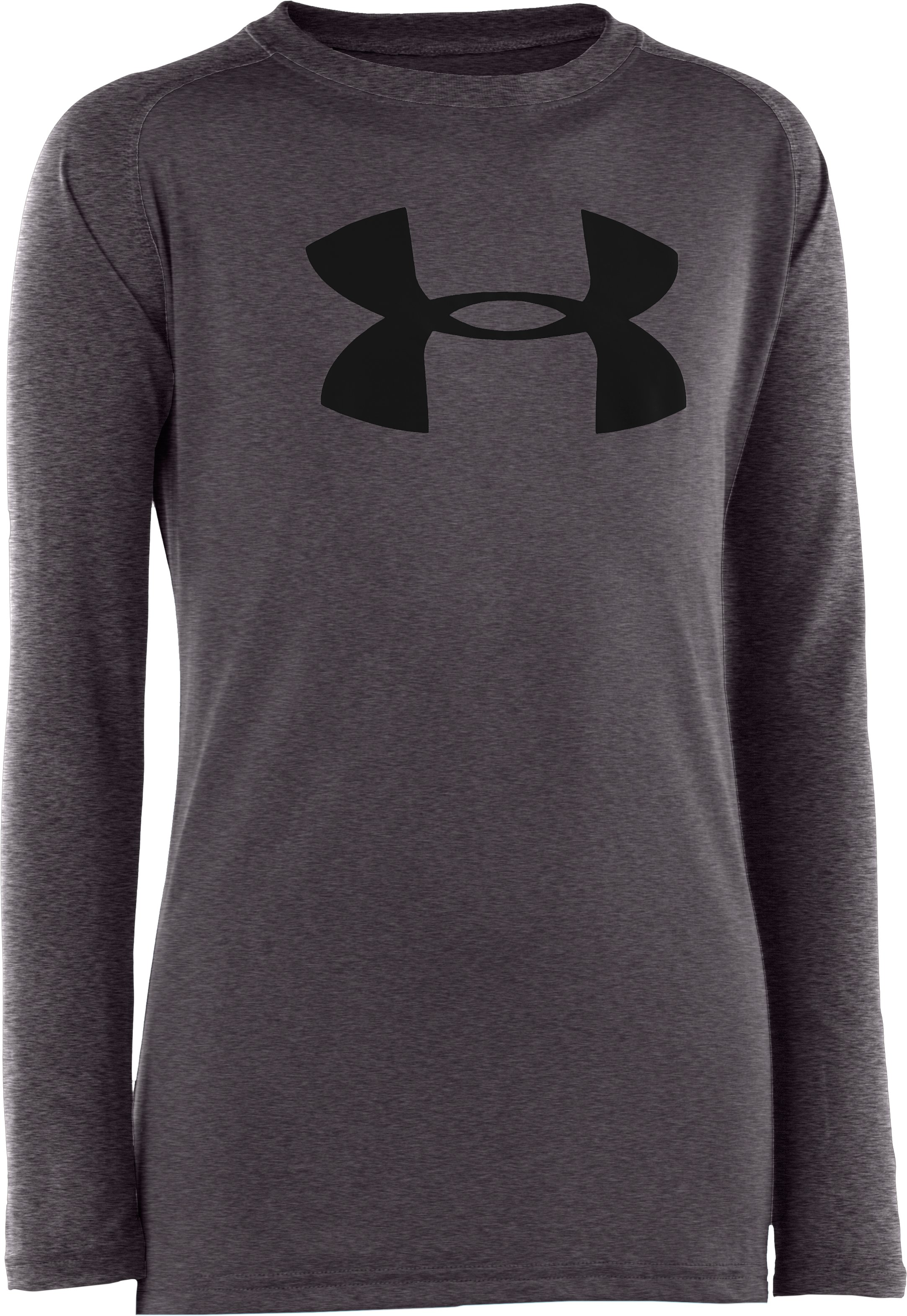 Boys' UA Tech™ Big Logo Long Sleeve T-Shirt, Carbon Heather, undefined