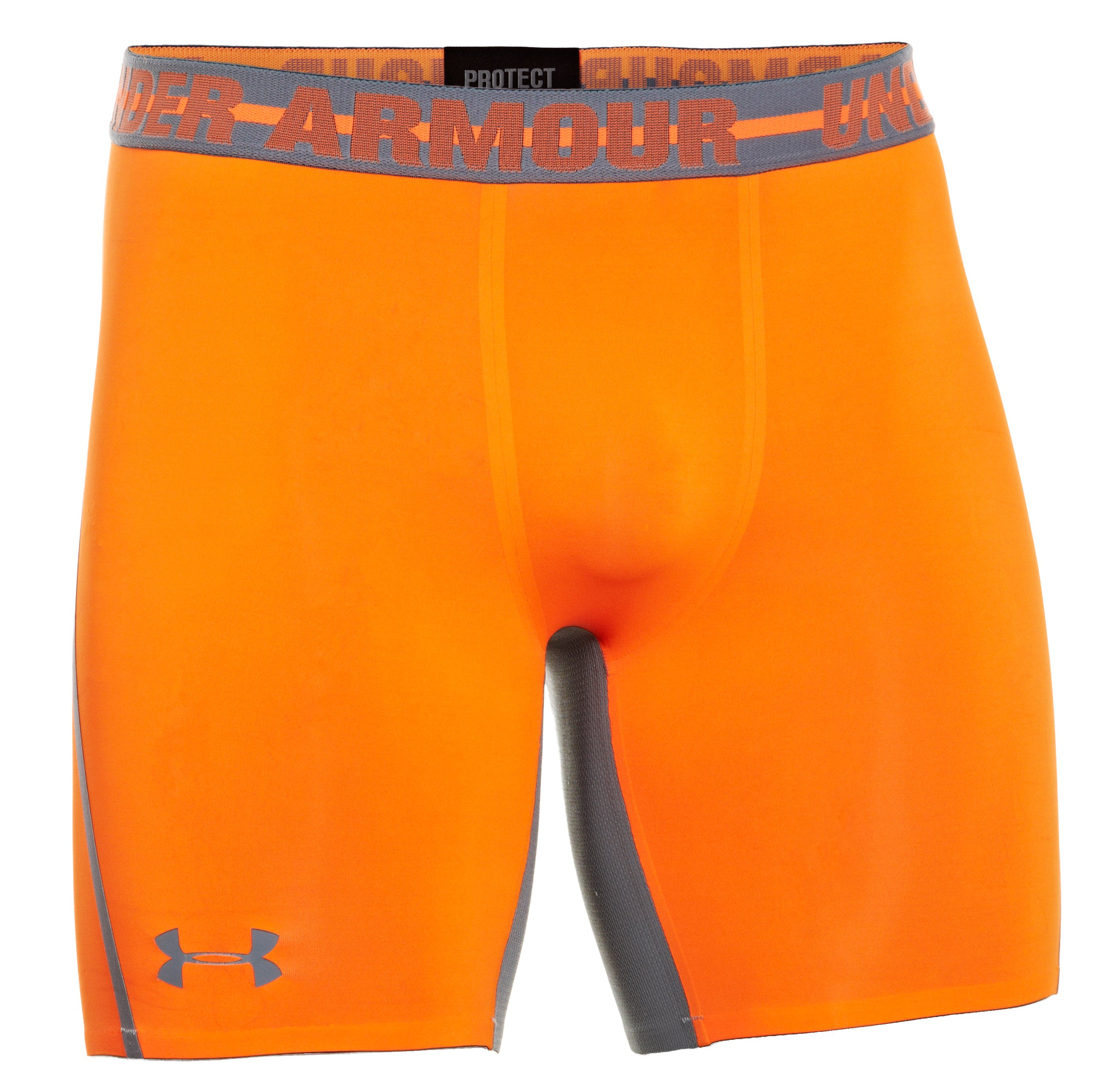 Men's UA HeatGear® Armour® Stretch Compression Shorts, Blaze Orange
