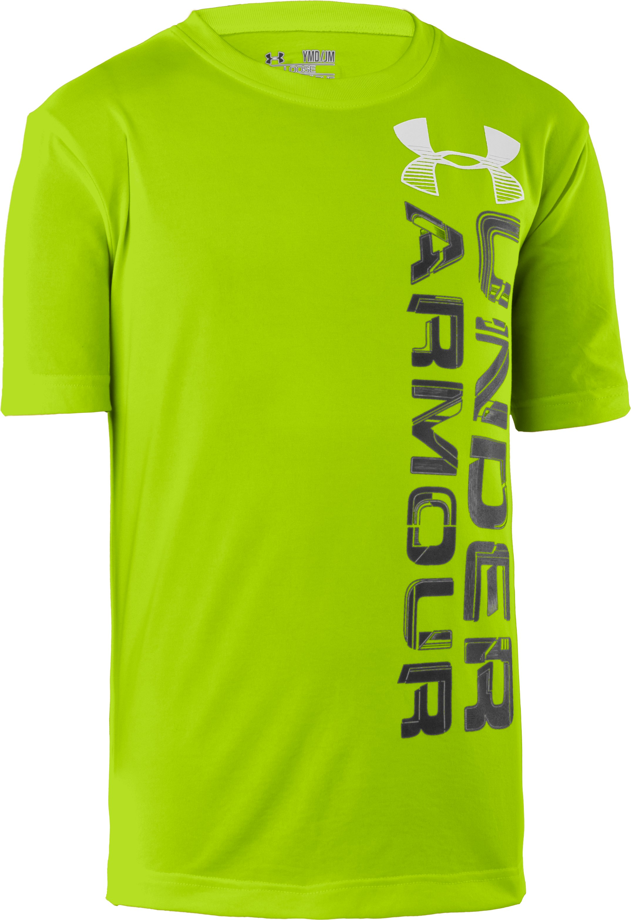 Boys' UA Space Brand Stack T-Shirt, HYPER GREEN, zoomed image