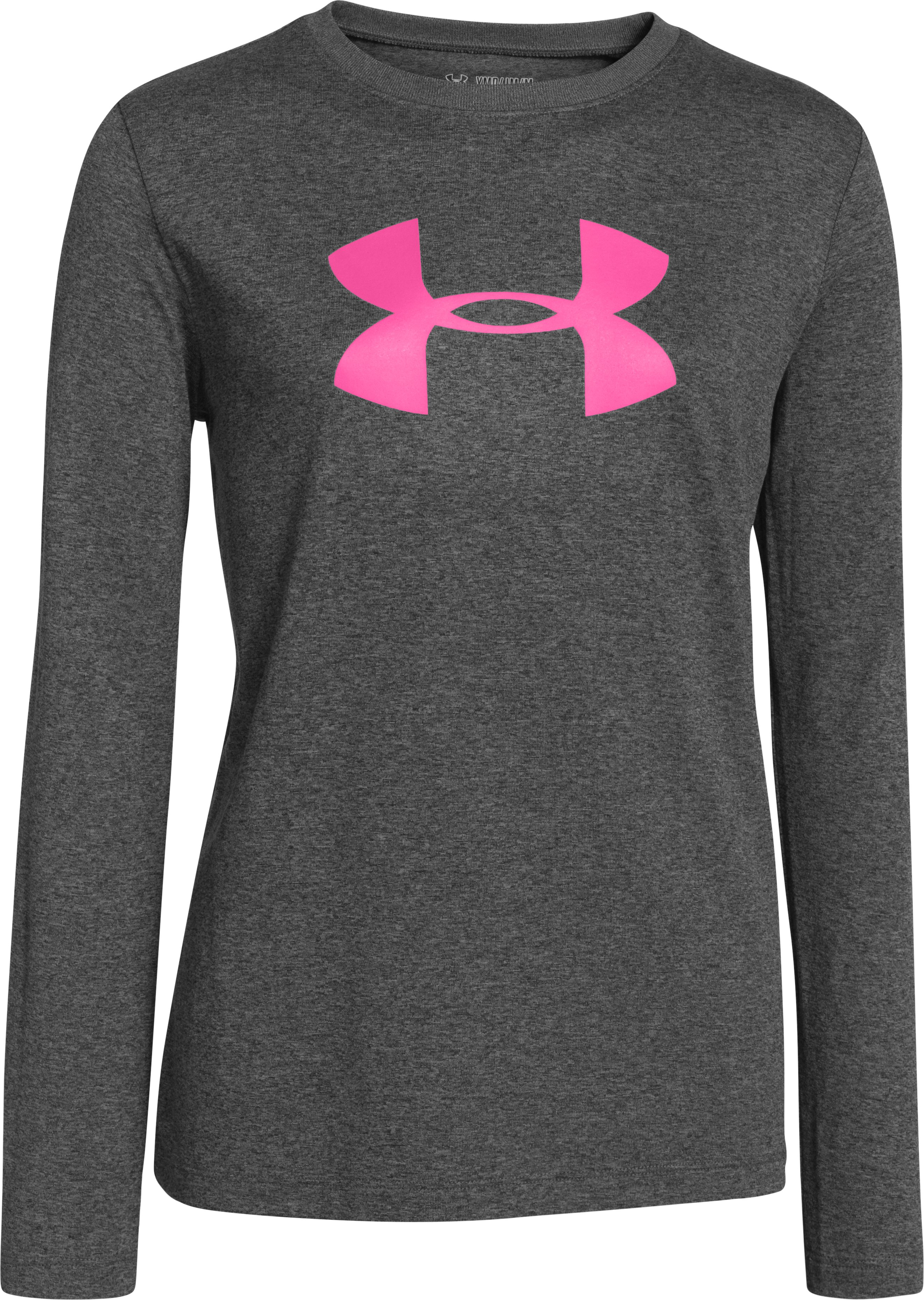 Girls' UA Tech™ Big Logo Long Sleeve, Carbon Heather, zoomed image