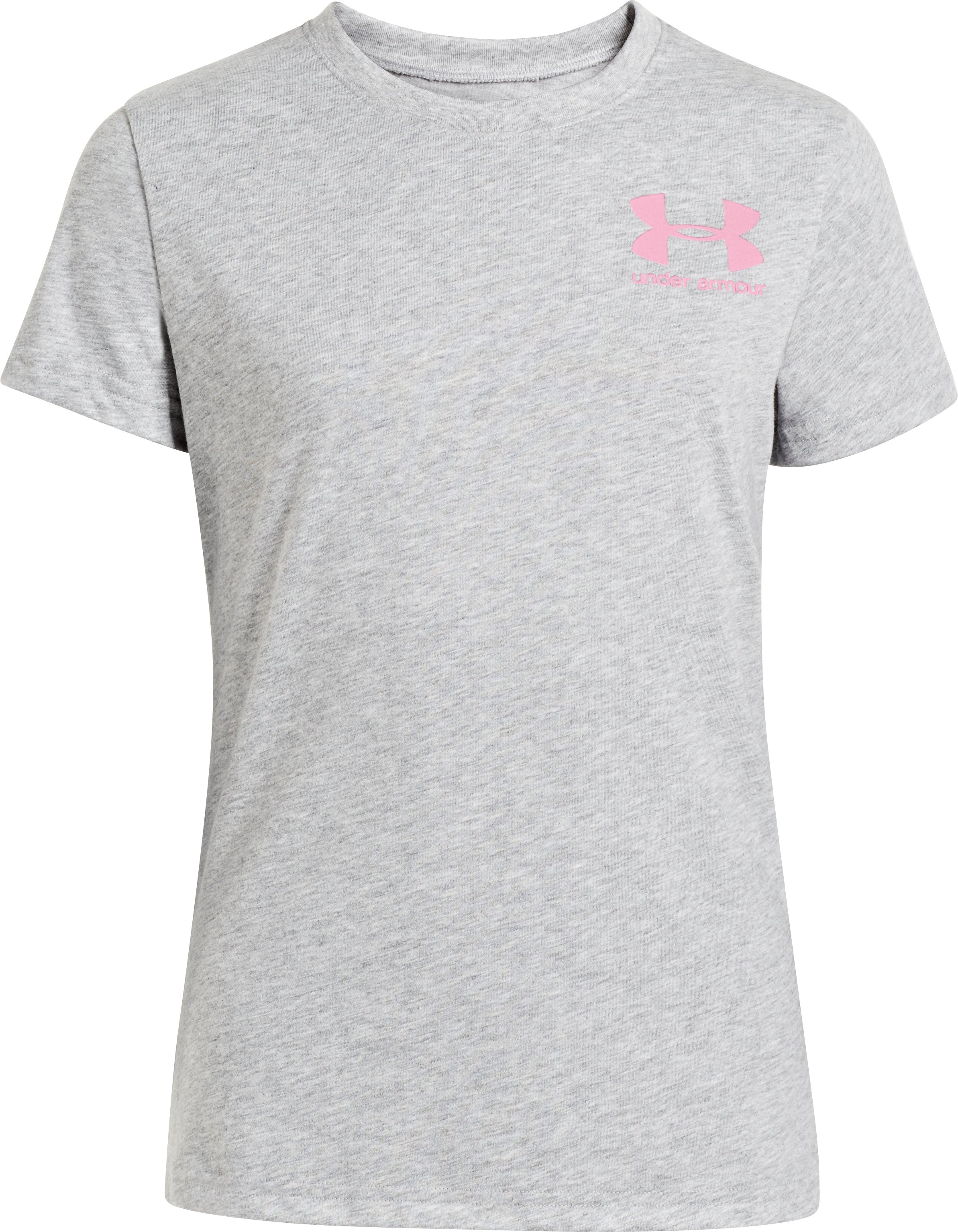 Girls' UA Try To Keep Up Graphic T-Shirt, True Gray Heather
