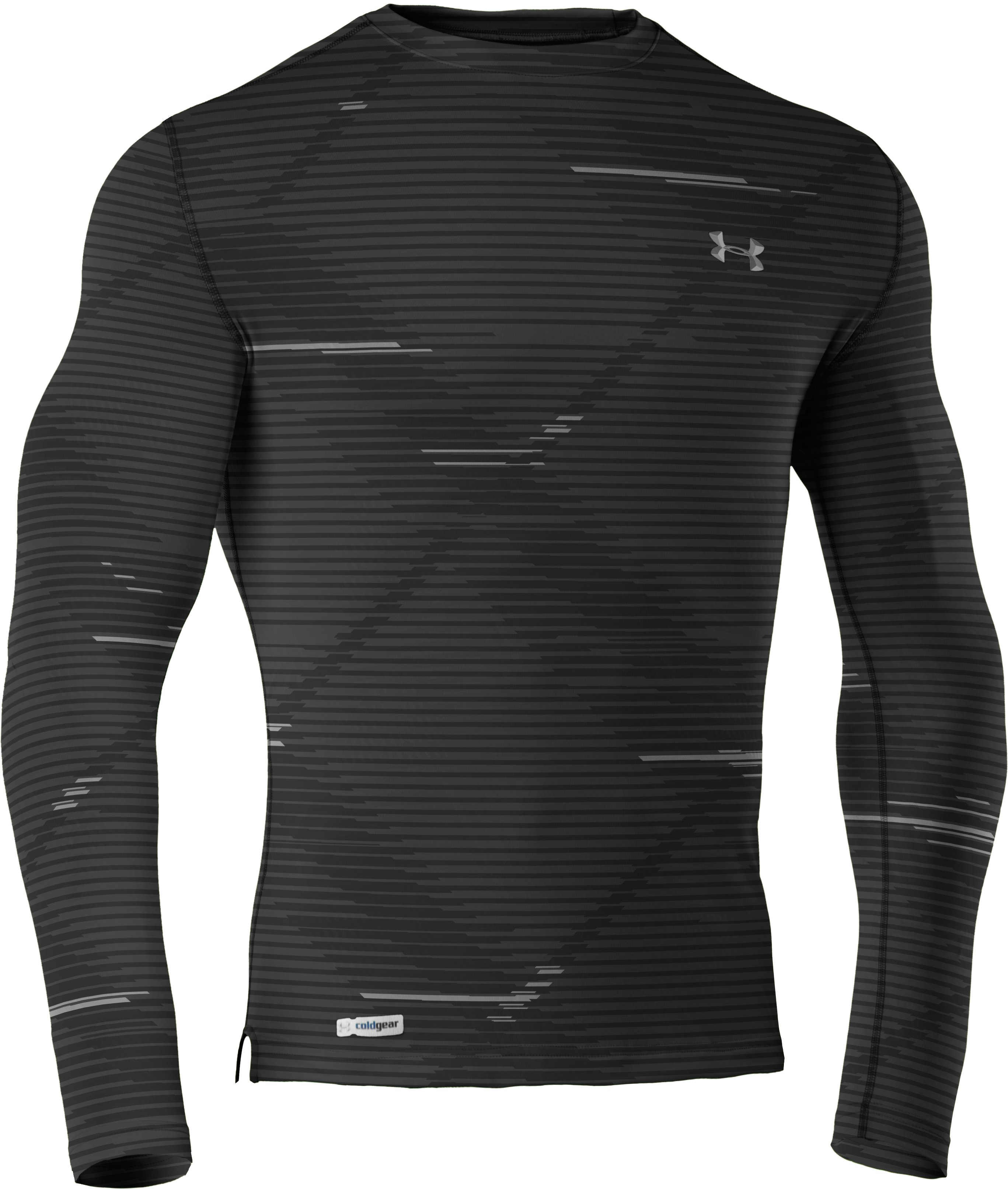 Men's ColdGear® Infrared Evo Printed Fitted Crew, Black