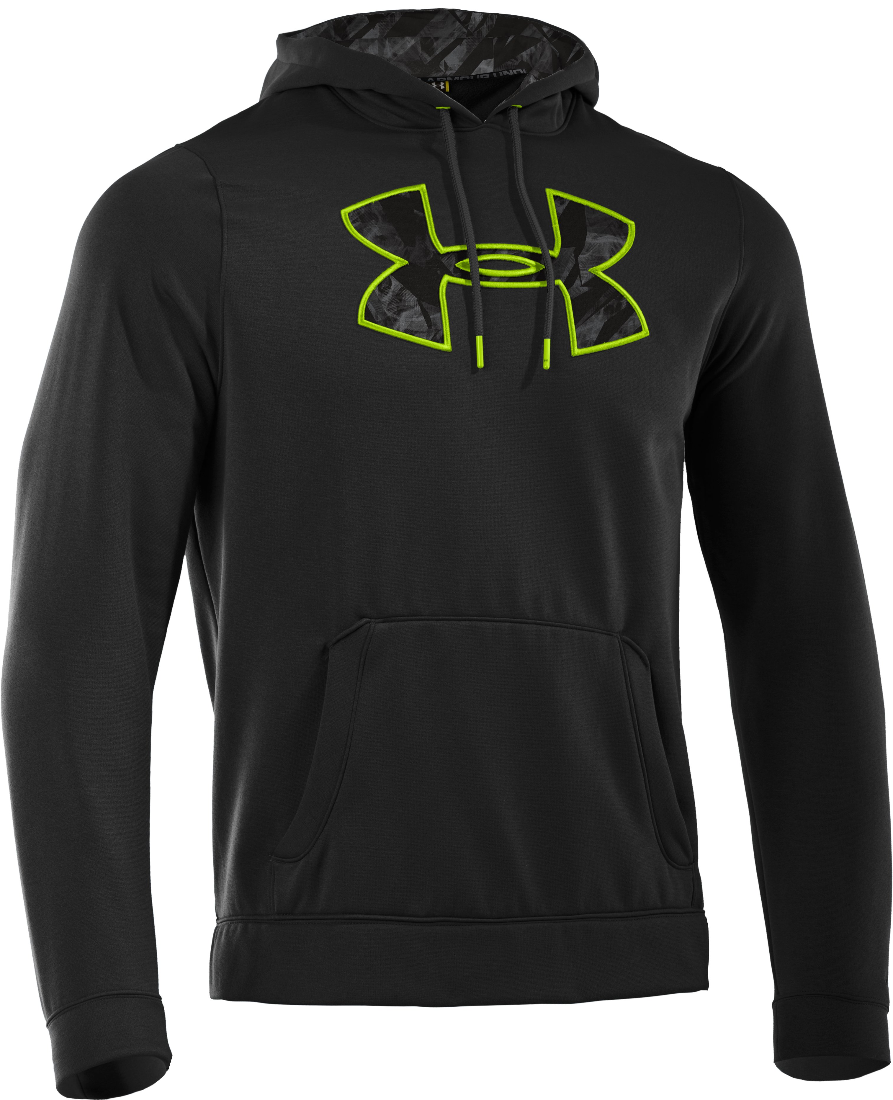 Men's UA Storm Armour® Fleece Pattern Big Logo Hoodie, Black , undefined