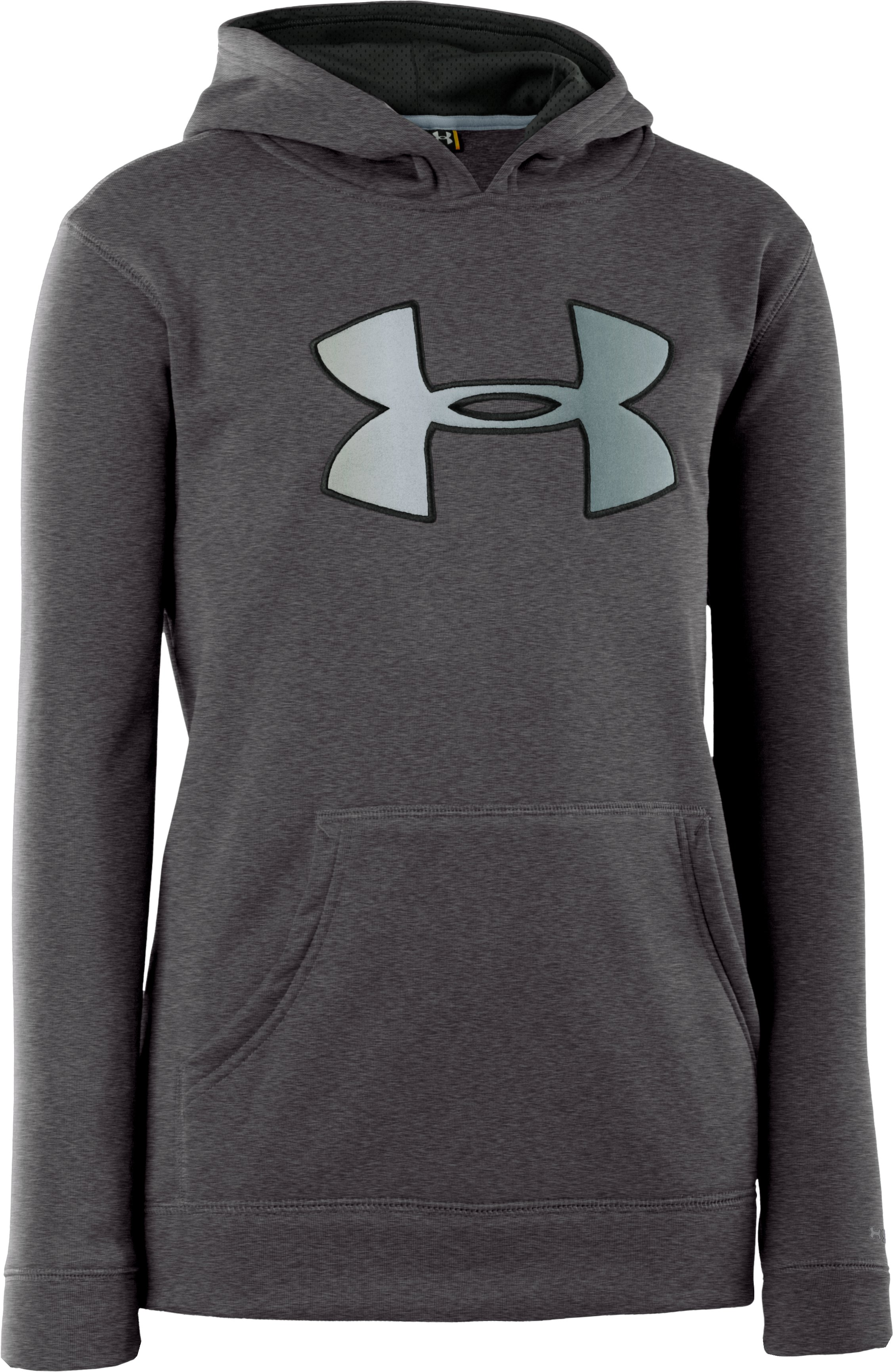 Boys' Armour® Fleece Storm Big Logo Hoodie, Carbon Heather, zoomed image