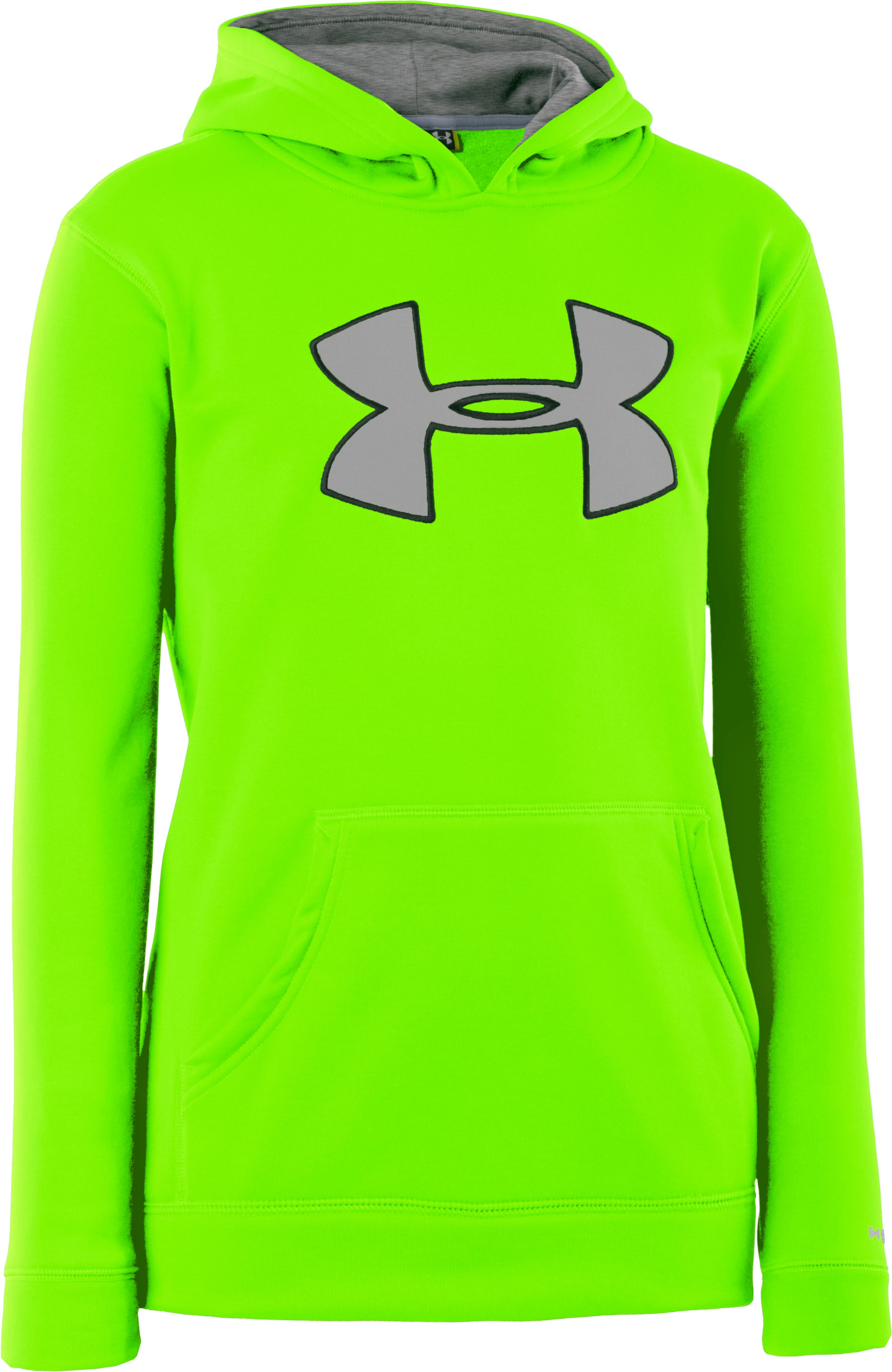 Boys' Armour® Fleece Storm Big Logo Hoodie, HYPER GREEN, zoomed image