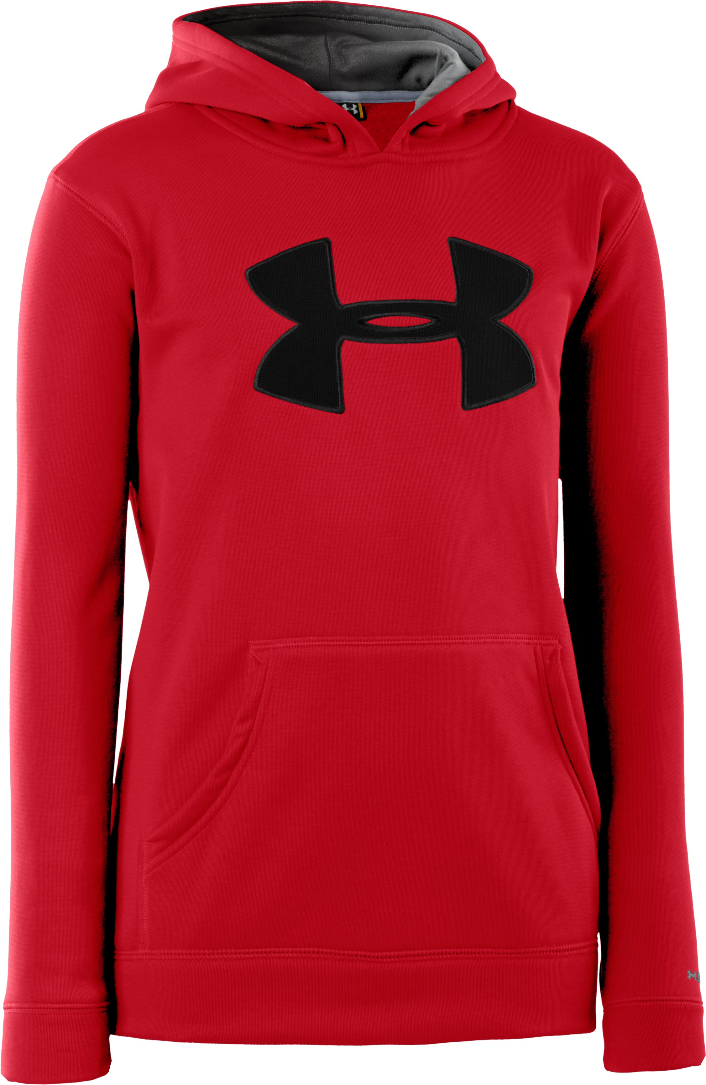 Boys' Armour® Fleece Storm Big Logo Hoodie, Red, zoomed image