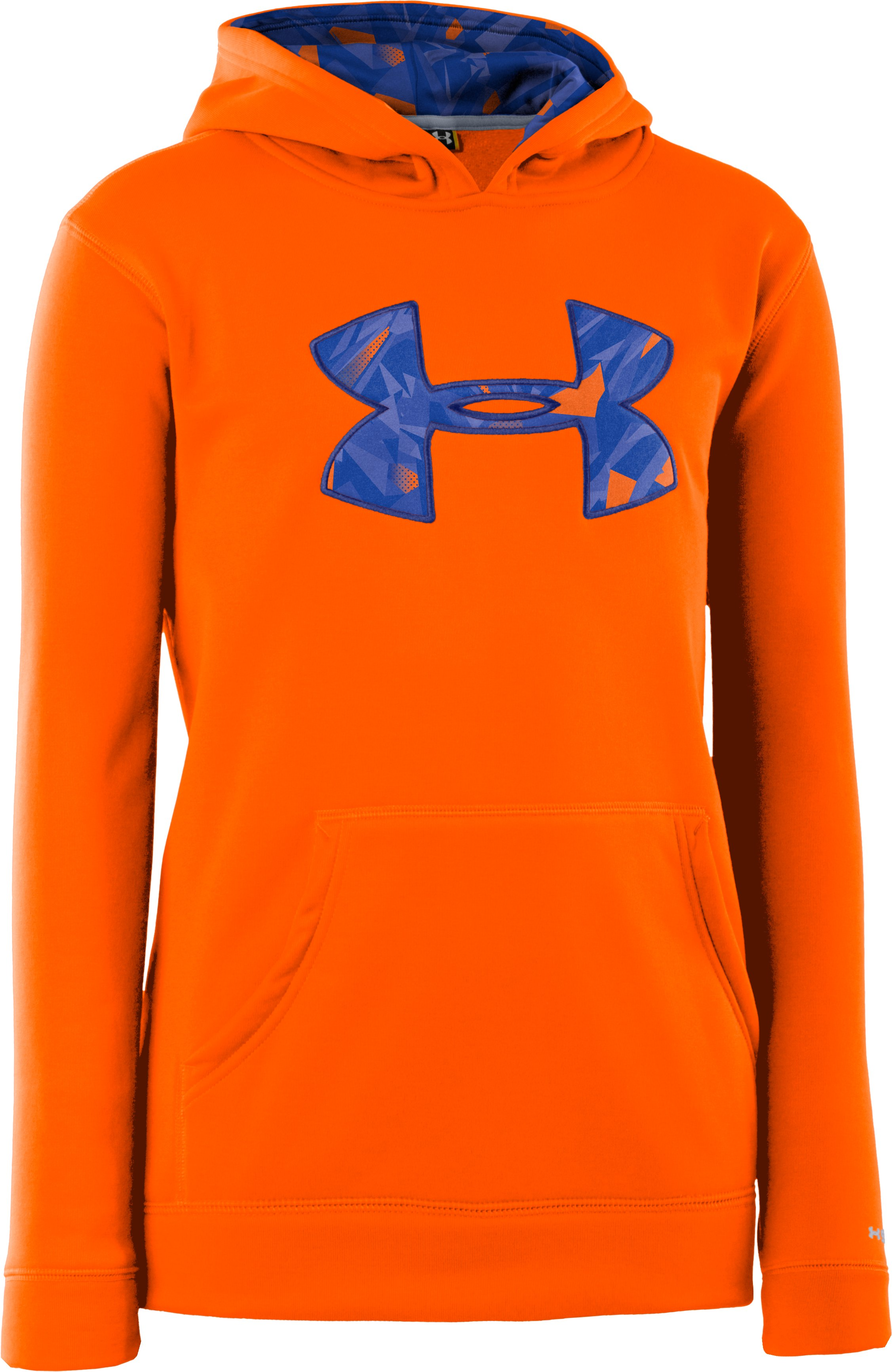 Boys' Armour® Fleece Storm Big Logo Hoodie, Blaze Orange, undefined