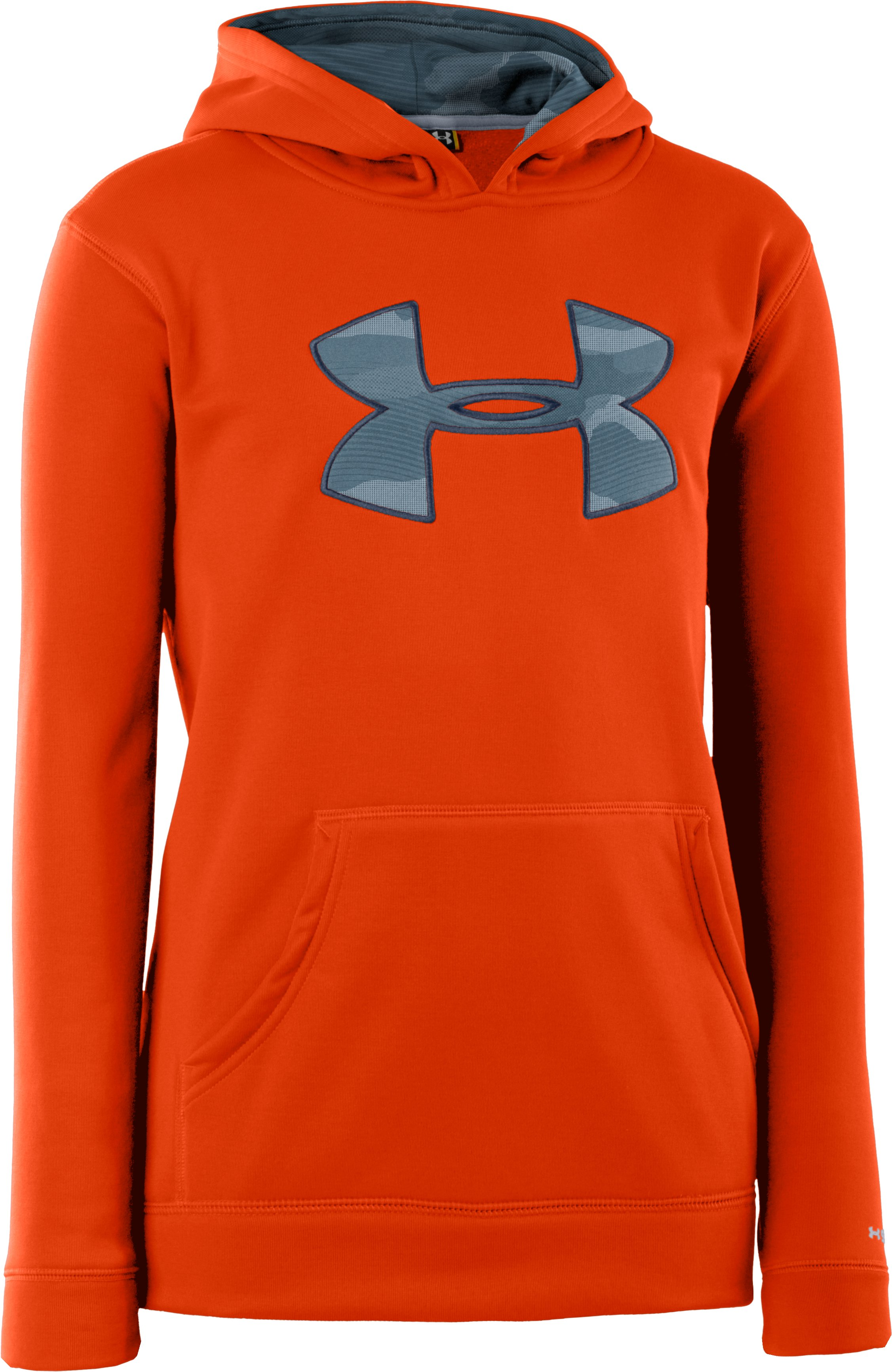 Boys' Armour® Fleece Storm Big Logo Hoodie, Dark Orange, zoomed image