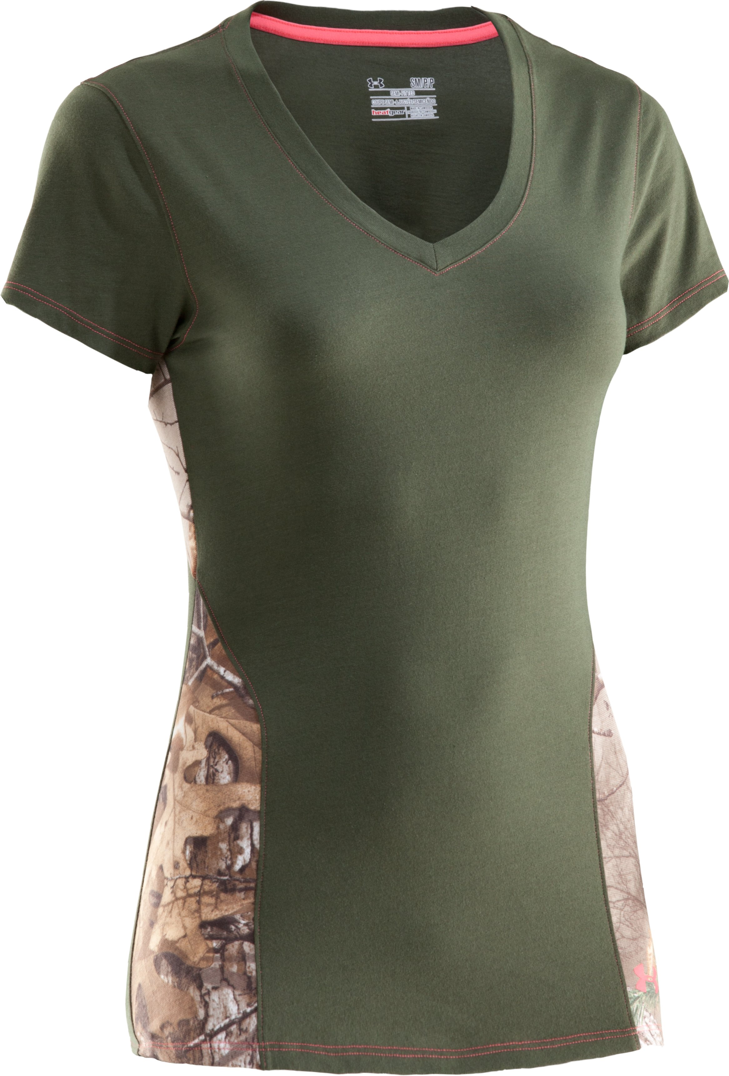 Women's Charged Cotton® Camo V-Neck, Rifle Green