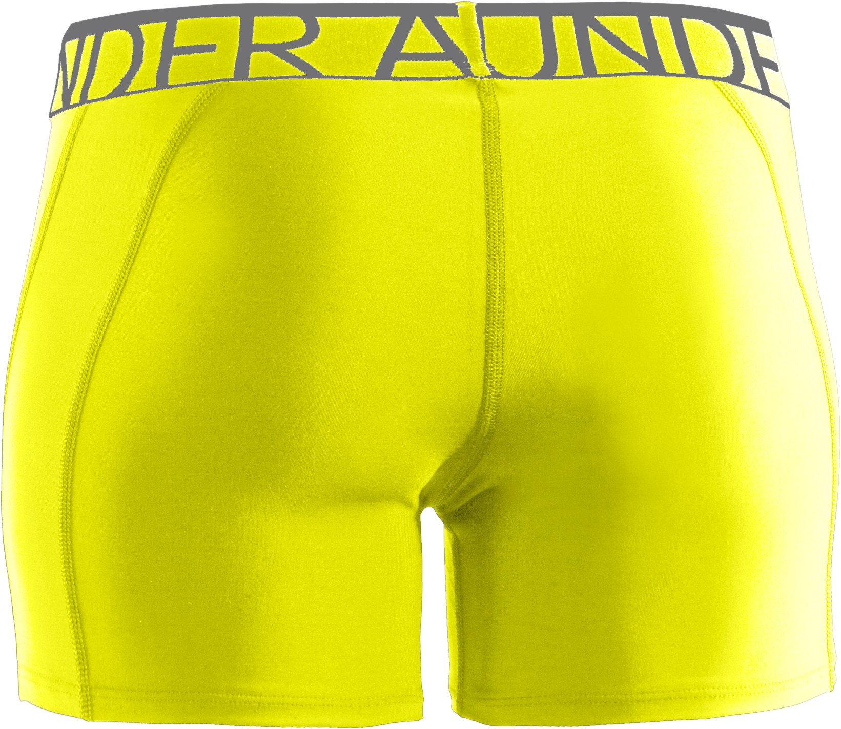 "Women's UA Still Gotta Have It 4"" Compression Shorts, High-Vis Yellow"