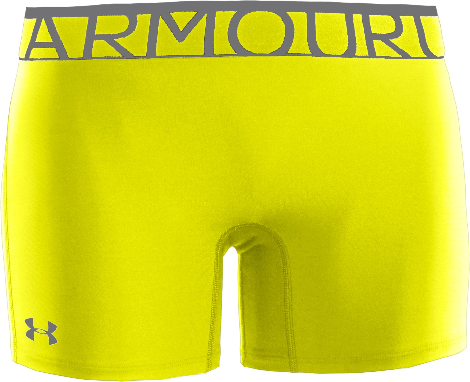 "Women's UA Still Gotta Have It 4"" Compression Shorts, High-Vis Yellow, zoomed image"