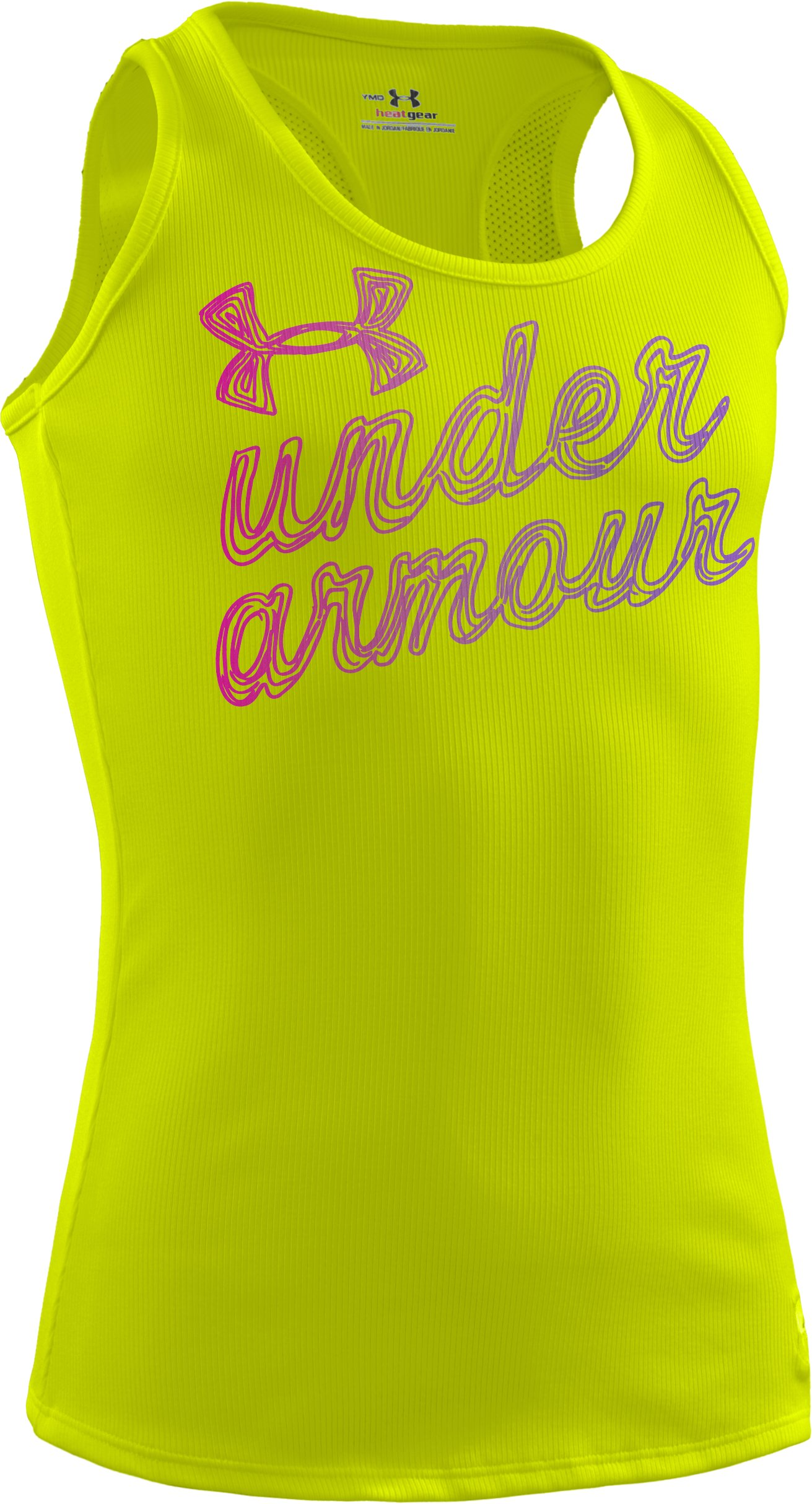Girls' UA Wordmark Graphic Tank, High-Vis Yellow, zoomed image