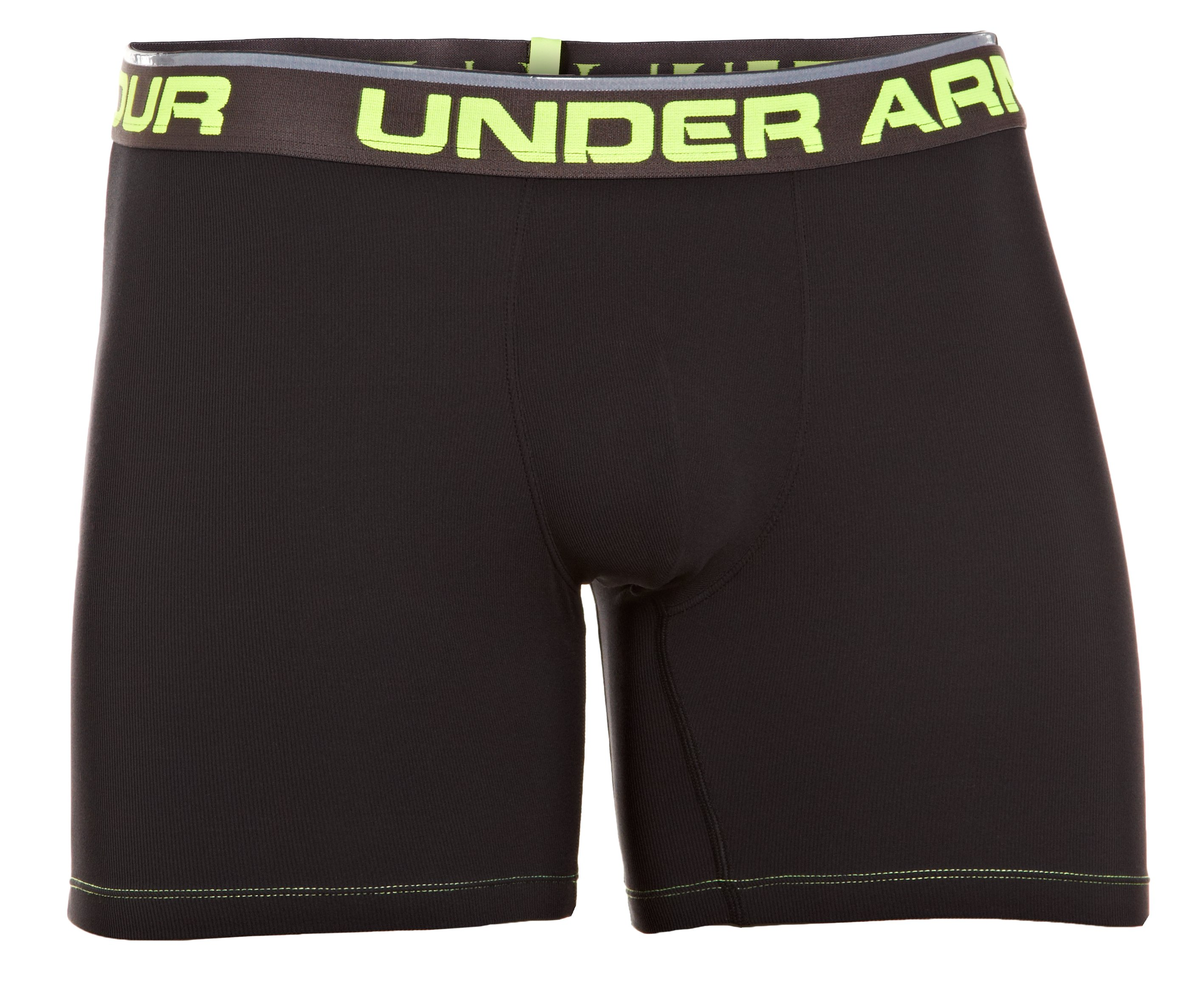 "Men's UA Ribbed 6"" Boxerjock® Boxer Briefs, Black"