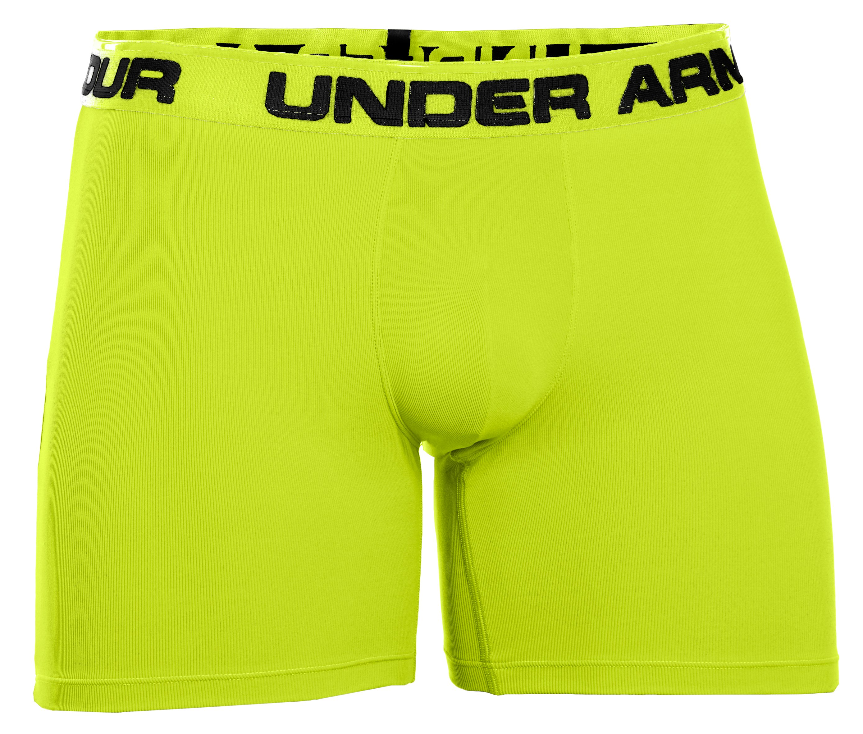 "Men's UA Ribbed 6"" Boxerjock® Boxer Briefs, High-Vis Yellow, undefined"