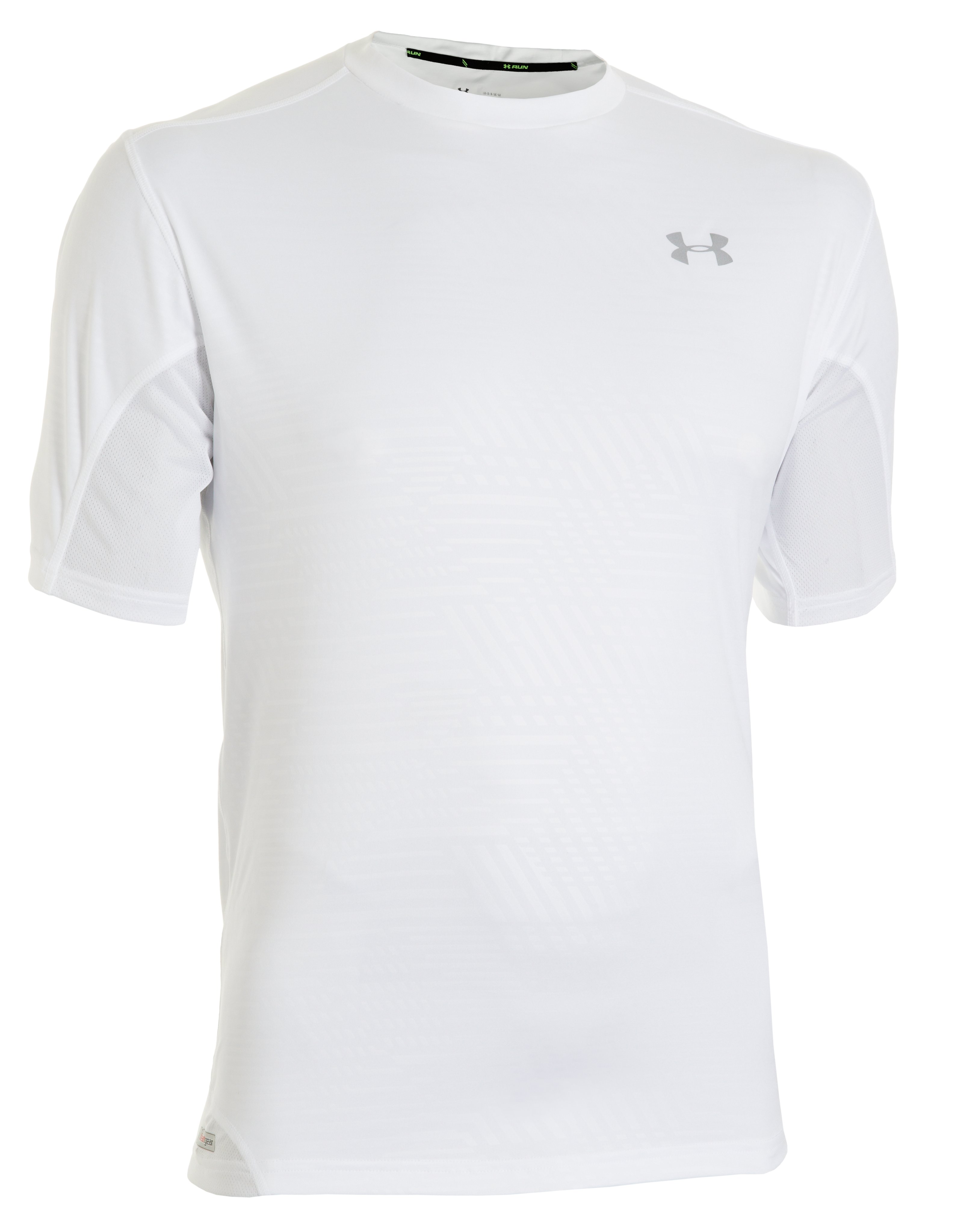 Men's HeatGear® Flyweight Run Printed Short Sleeve, White