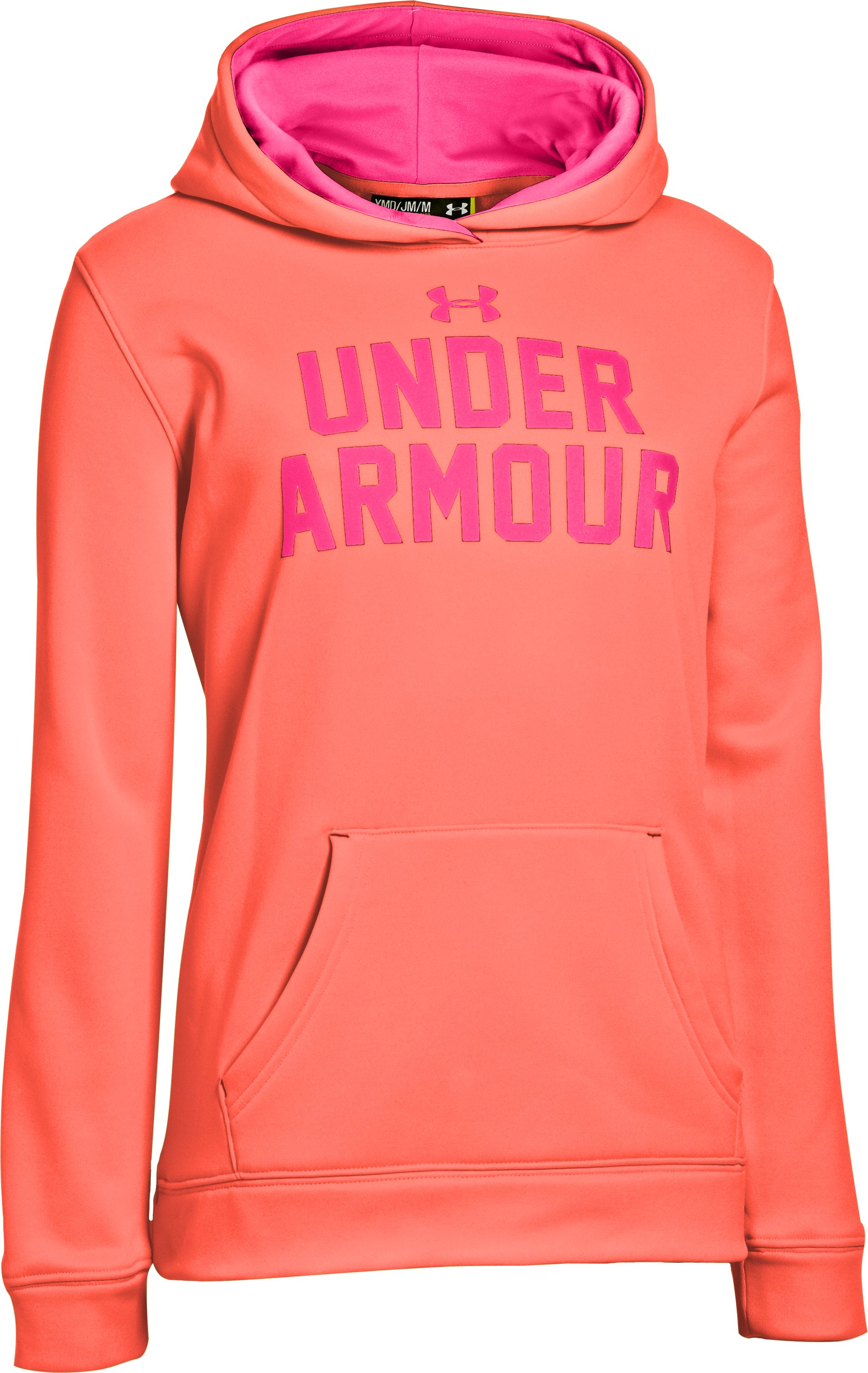 Girls' UA Battle Hoodie, ELECTRIC TANGERINE, undefined