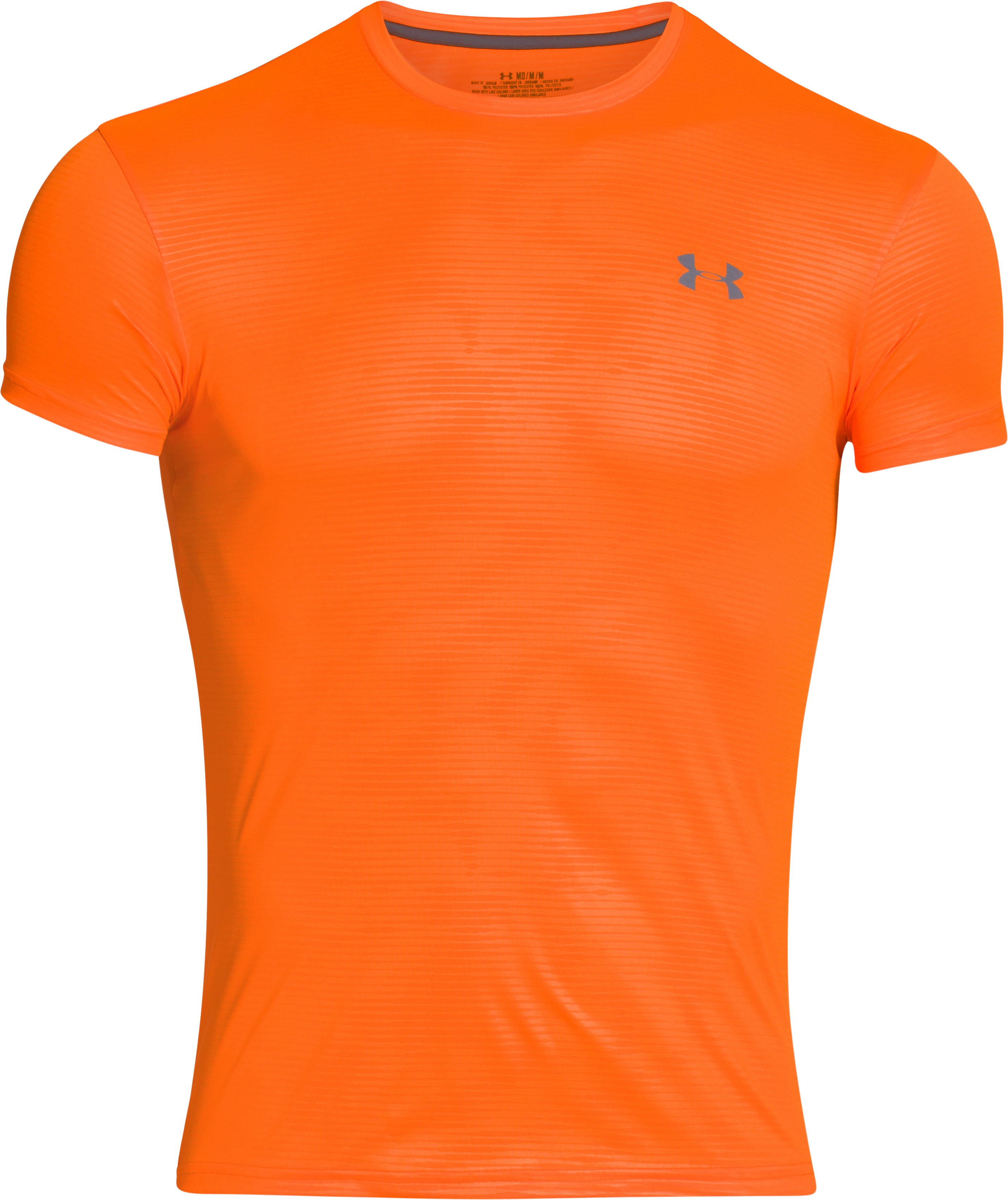 Men's UA HeatGear® Flyweight Crew Undershirt, Blaze Orange, zoomed image