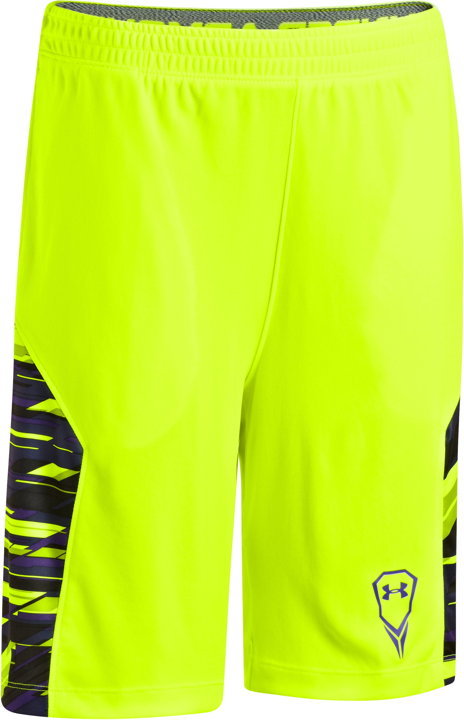 Boys' UA Uri Dicuhluss Shorts, High-Vis Yellow, zoomed image