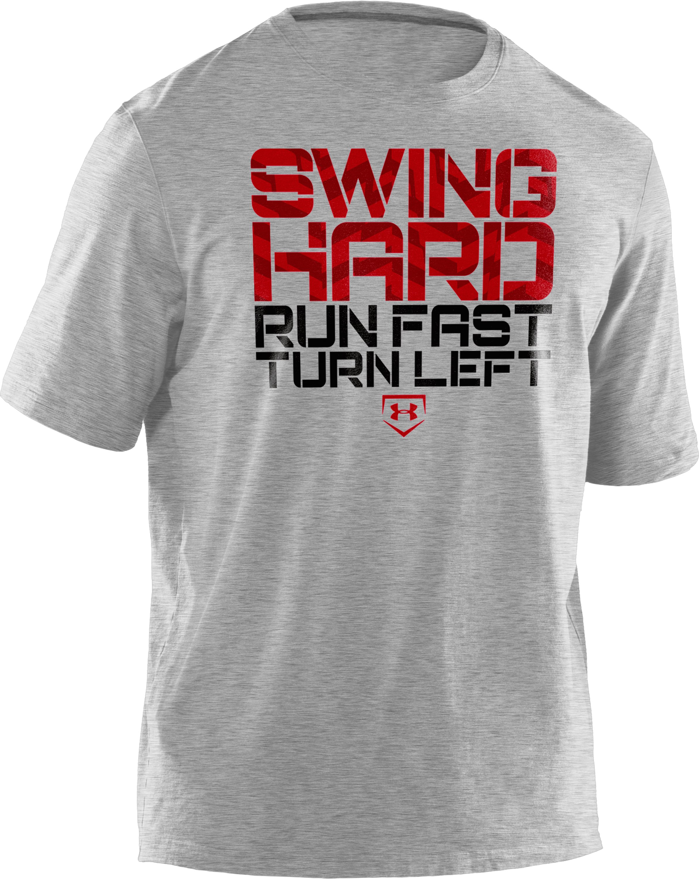 Boys' UA Swing Hard T-Shirt, True Gray Heather, zoomed image