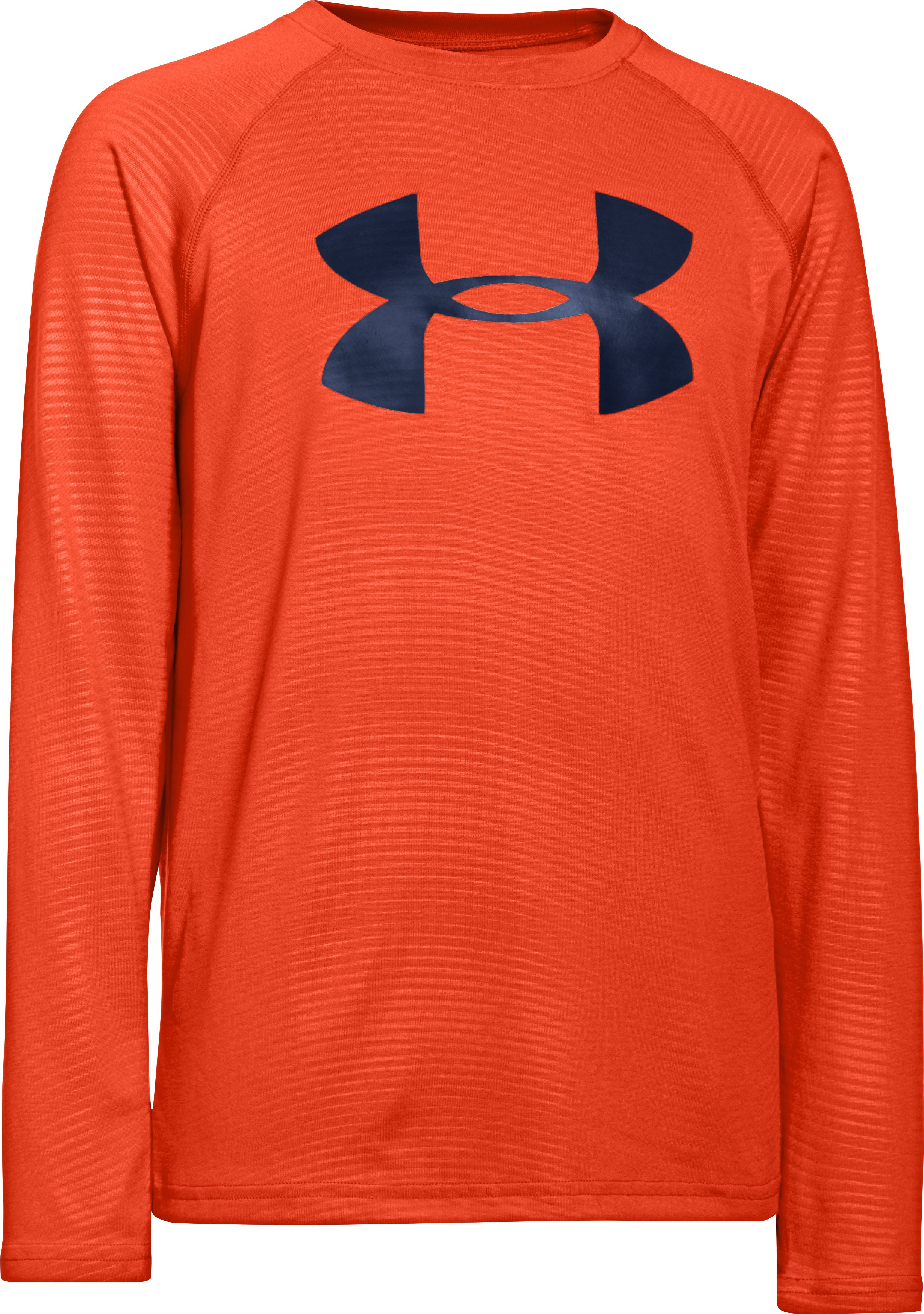 Boys' UA Tech™ Big Logo Printed Long Sleeve T-Shirt, Dark Orange, zoomed image