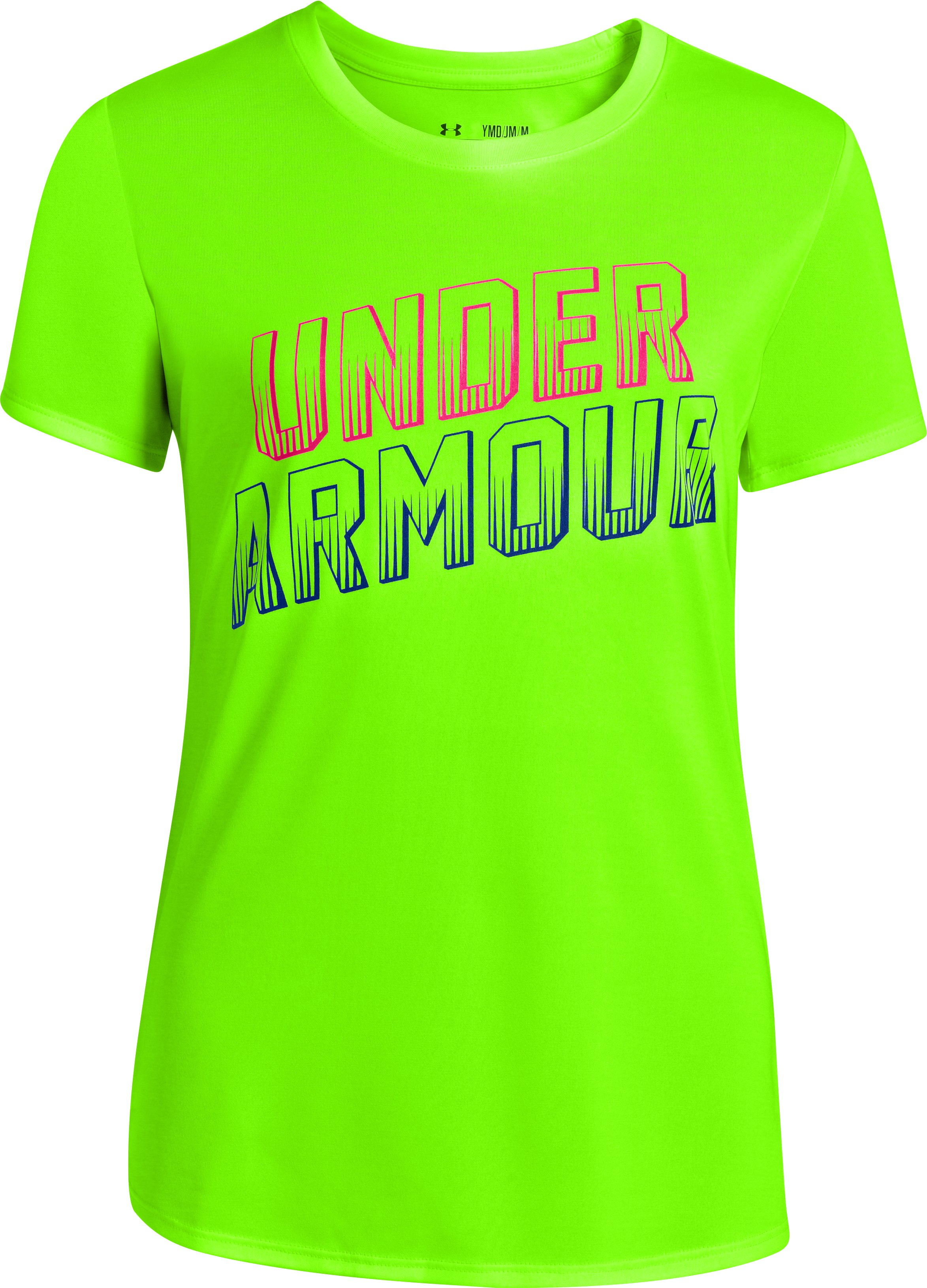 Girls' UA Twist Tech Graphic T-Shirt, HYPER GREEN, zoomed image