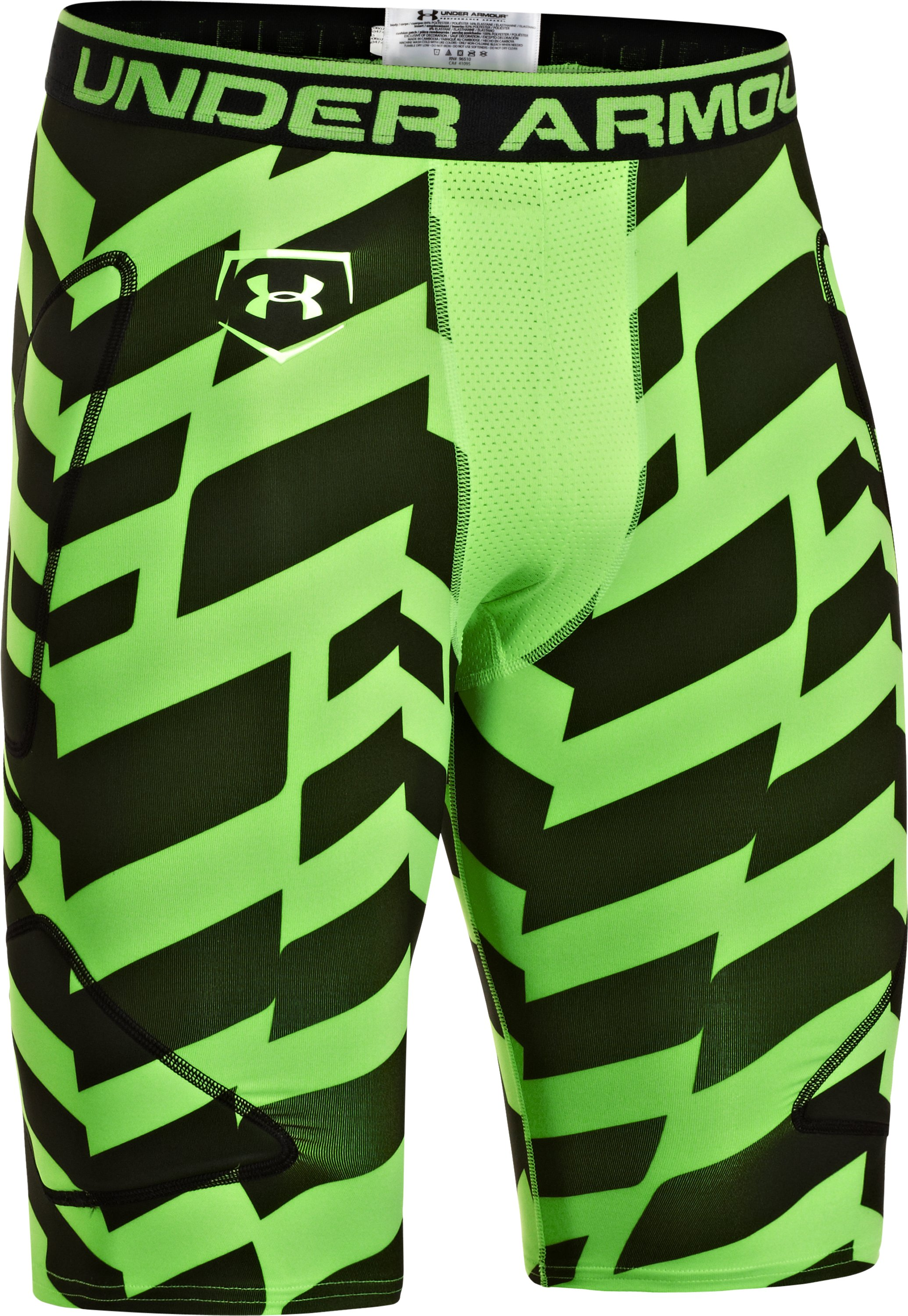 Men's UA Break Through Printed Baseball Slider, HYPER GREEN,