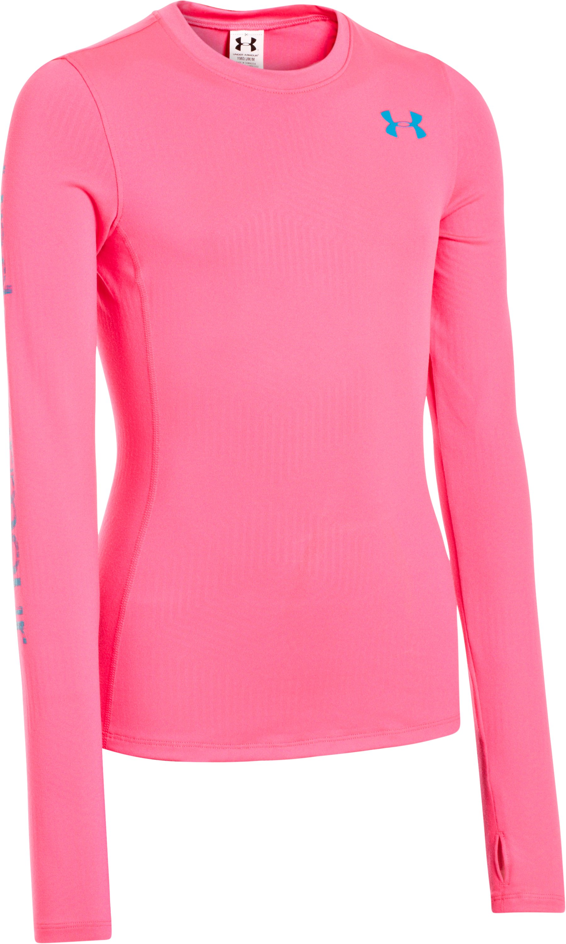 Girls' ColdGear® Infrared Long Sleeve Crew, PINKADELIC, zoomed image