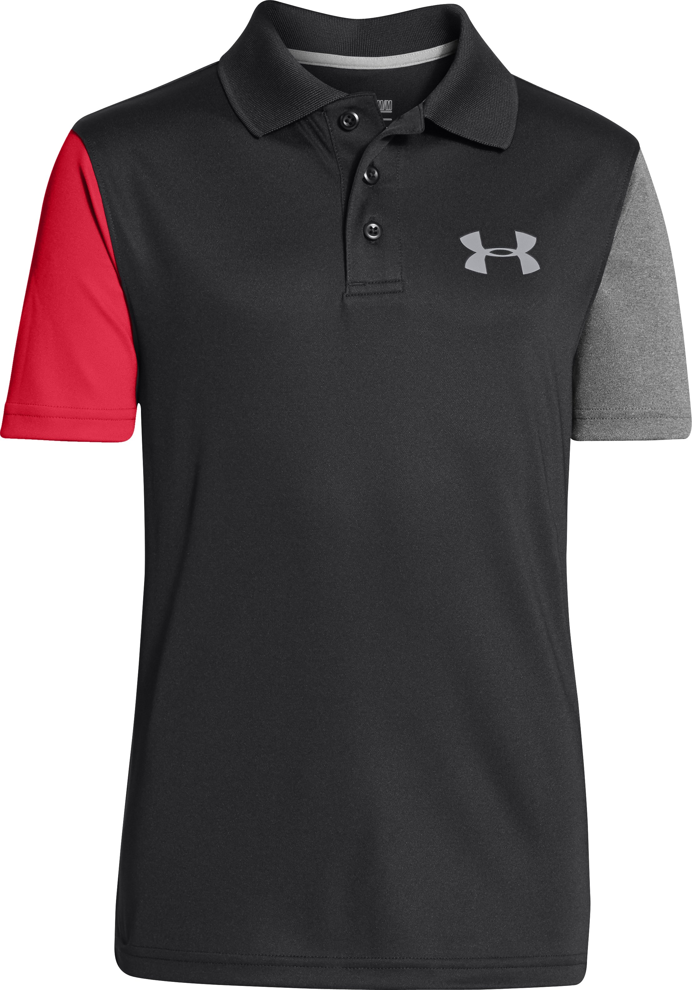 Boys' UA Fullswing CB Polo, Black , zoomed image