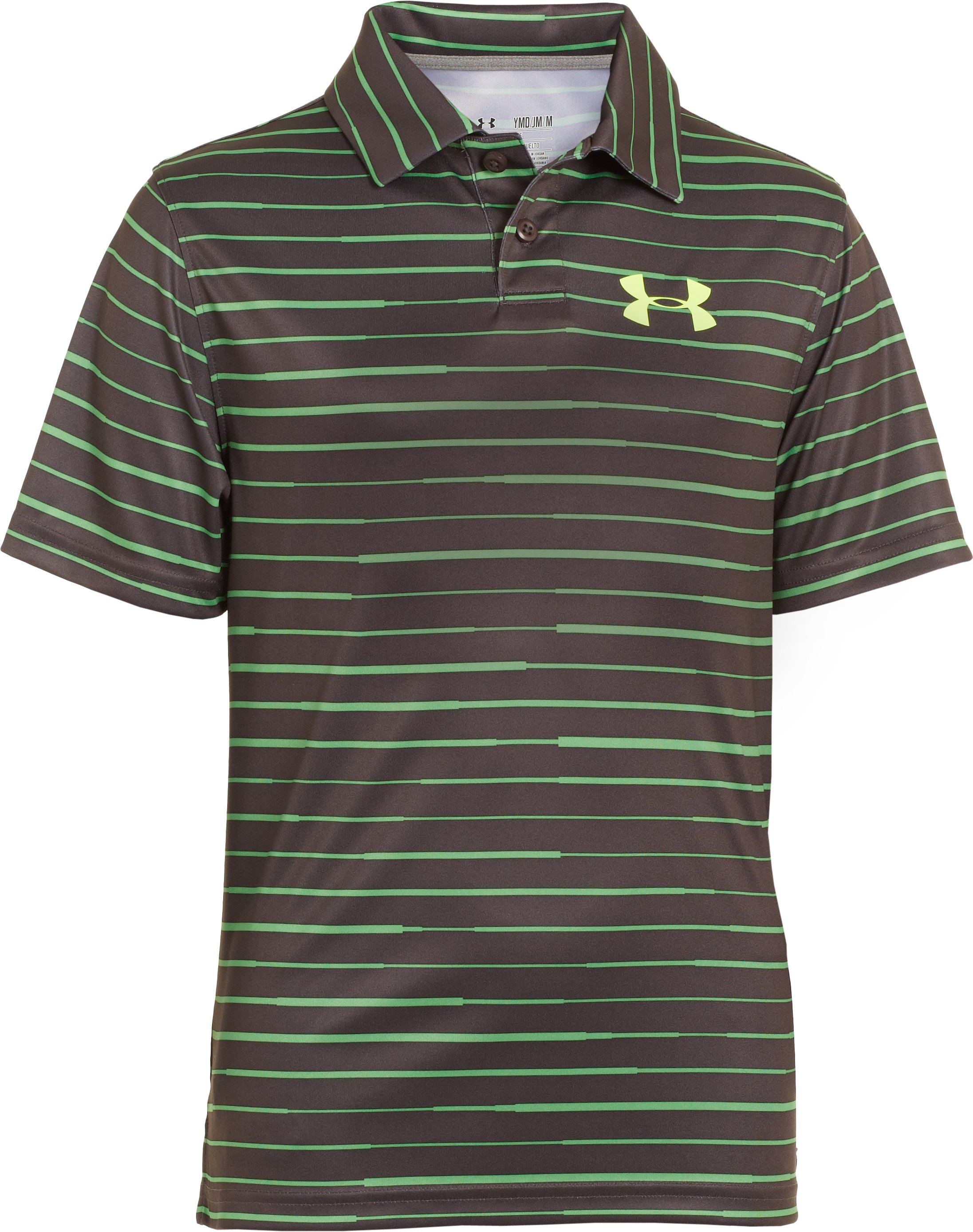 Boys' UA Seismic Strip Polo, Charcoal, zoomed image