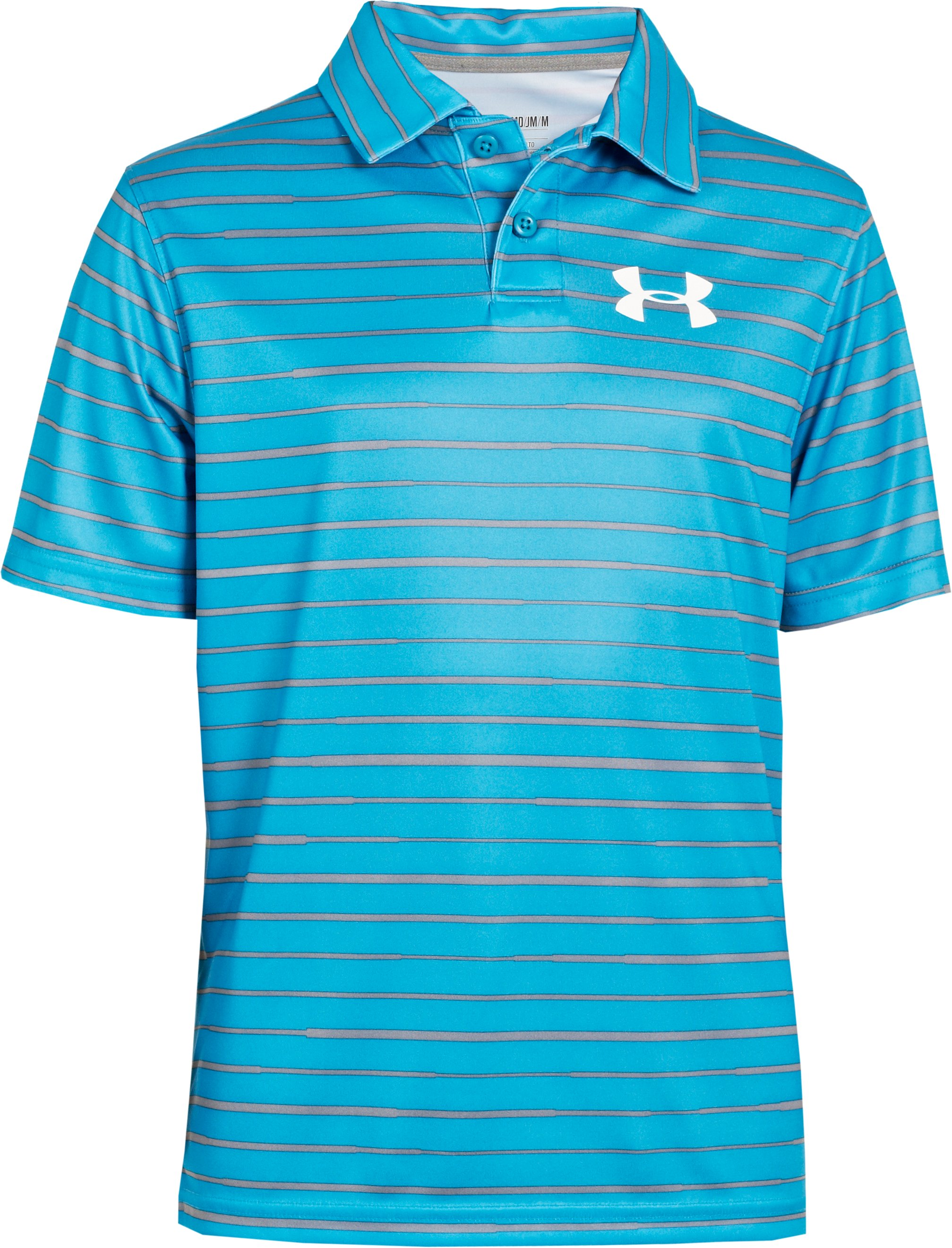Boys' UA Seismic Strip Polo, PIRATE BLUE, zoomed image