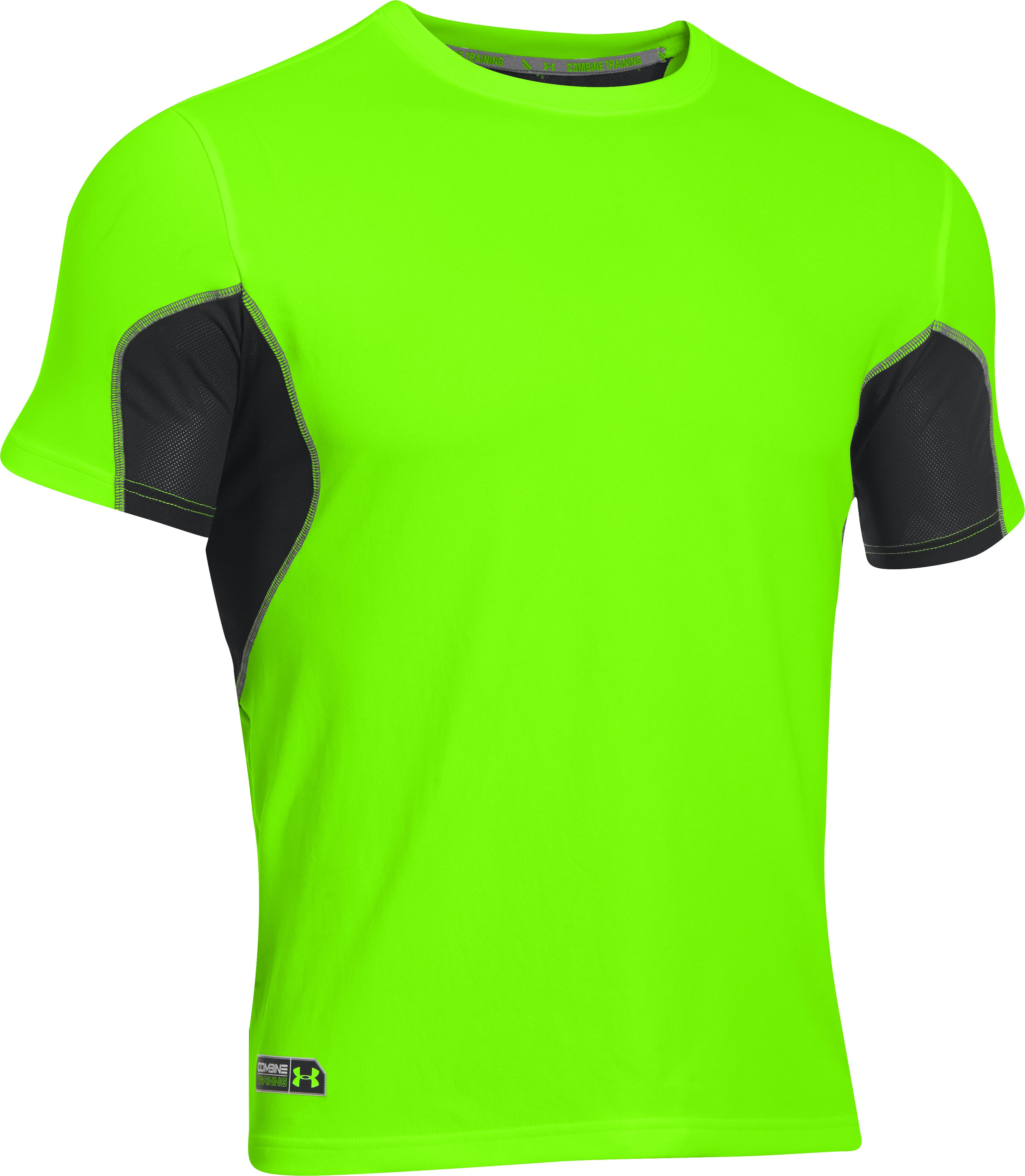 Men's UA Combine® Training Short Sleeve, HYPER GREEN, undefined