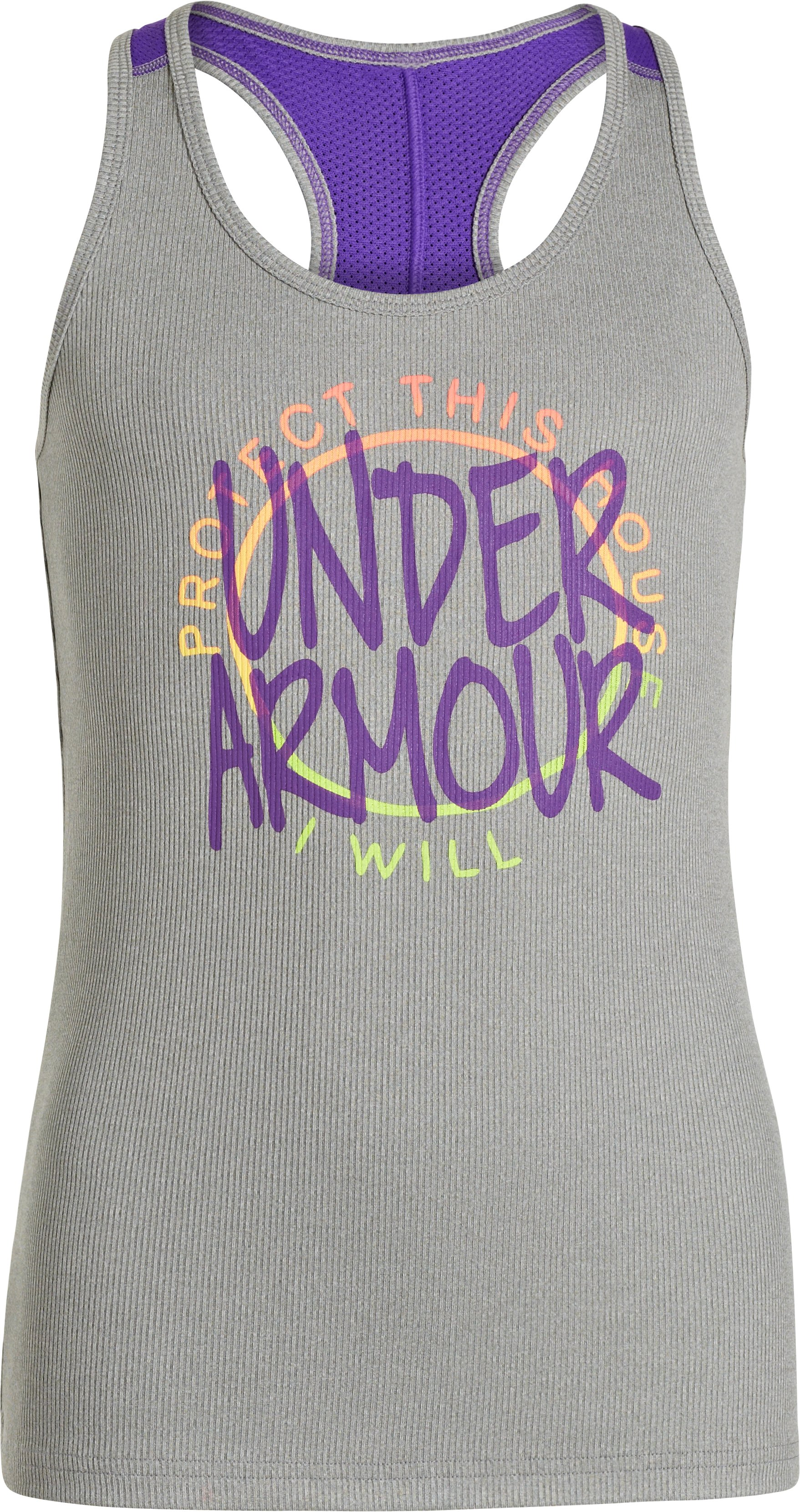 Girls' Graphic UA Victory Tank, True Gray Heather, zoomed image