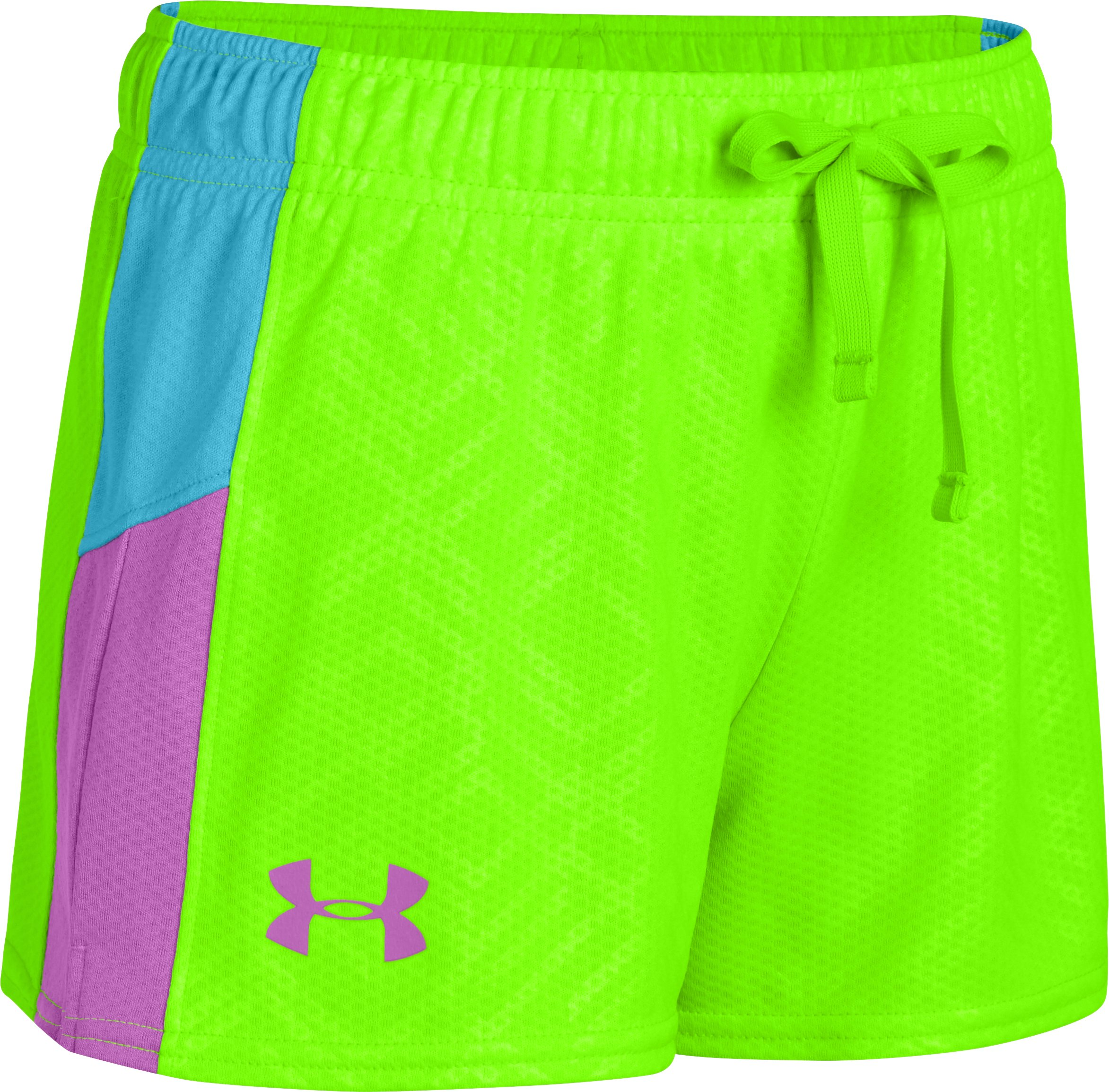 Girls' UA Intensity Print Shorts, HYPER GREEN