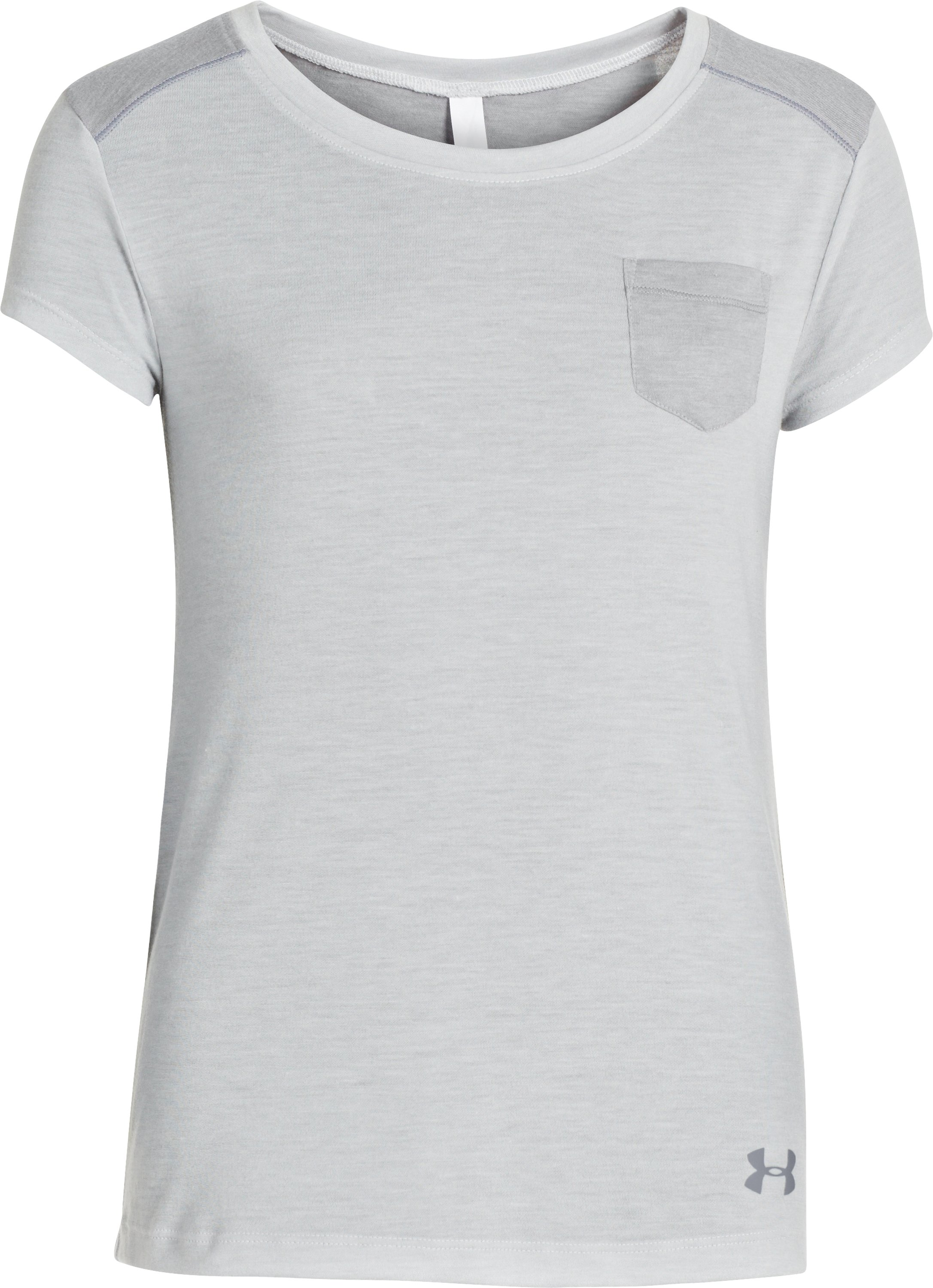 Girls' UA Studio Pocket T-Shirt, Silver Heather,