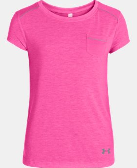 New Arrival  Girls' UA Studio Pocket T-Shirt LIMITED TIME: FREE SHIPPING 1 Color $39.99