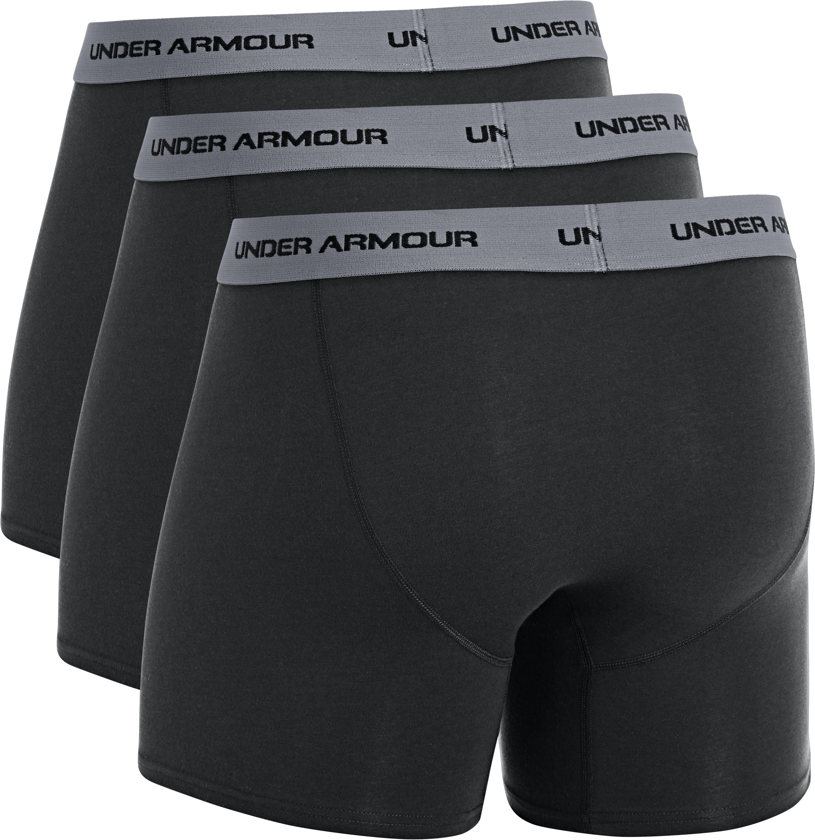 "Men's Charged Cotton® Stretch 6"" Boxerjock® 3-Pack, Black , undefined"