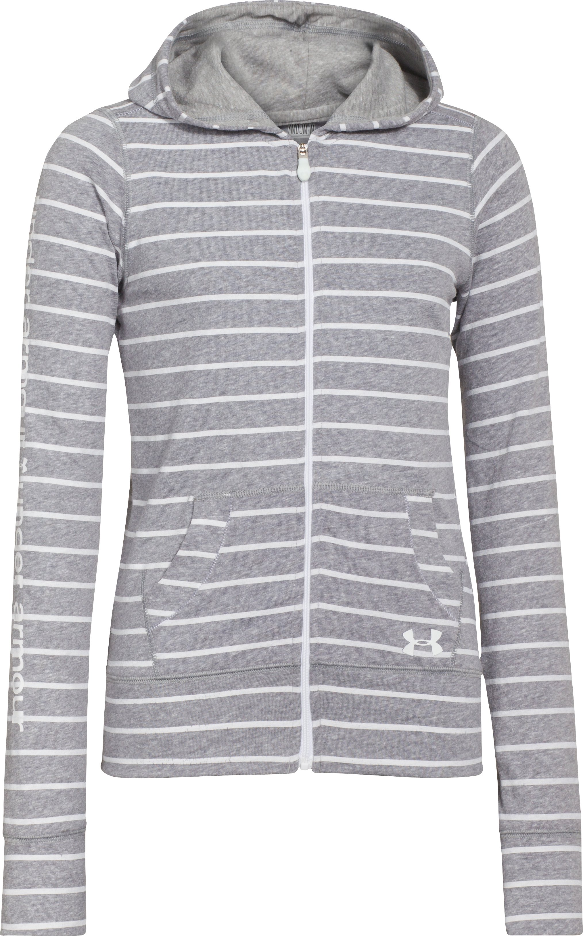Girls' UA Tri-Blend Full Zip Hoodie, True Gray Heather