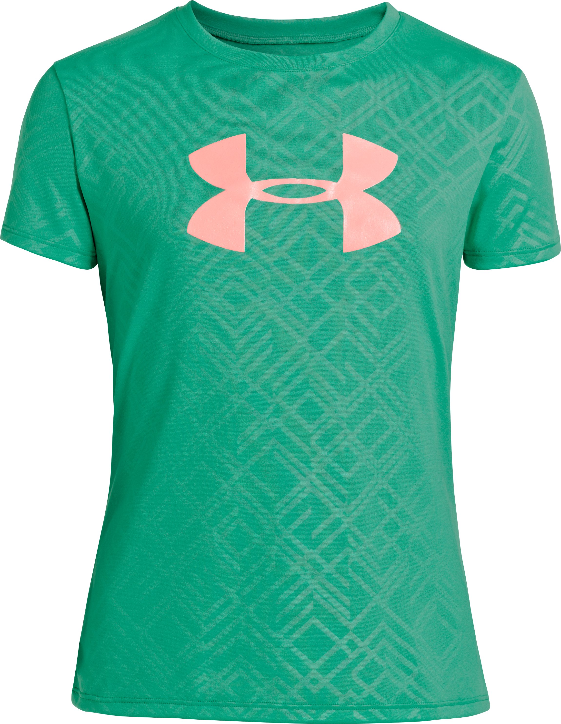 Girls' UA Big Logo Embossed T-Shirt, EMERALD LAKE