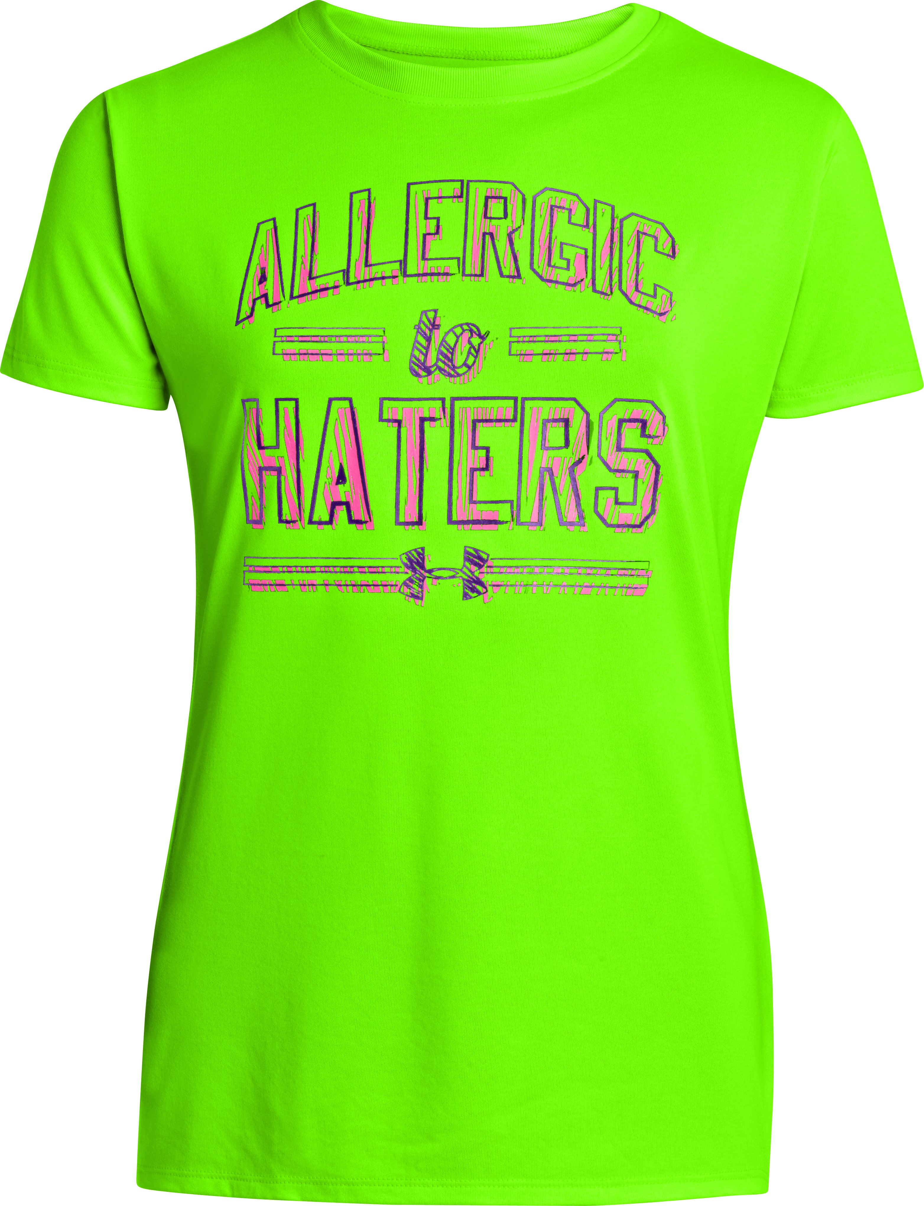 Girls' UA Allergic To Haters Graphic T-Shirt, HYPER GREEN, zoomed image
