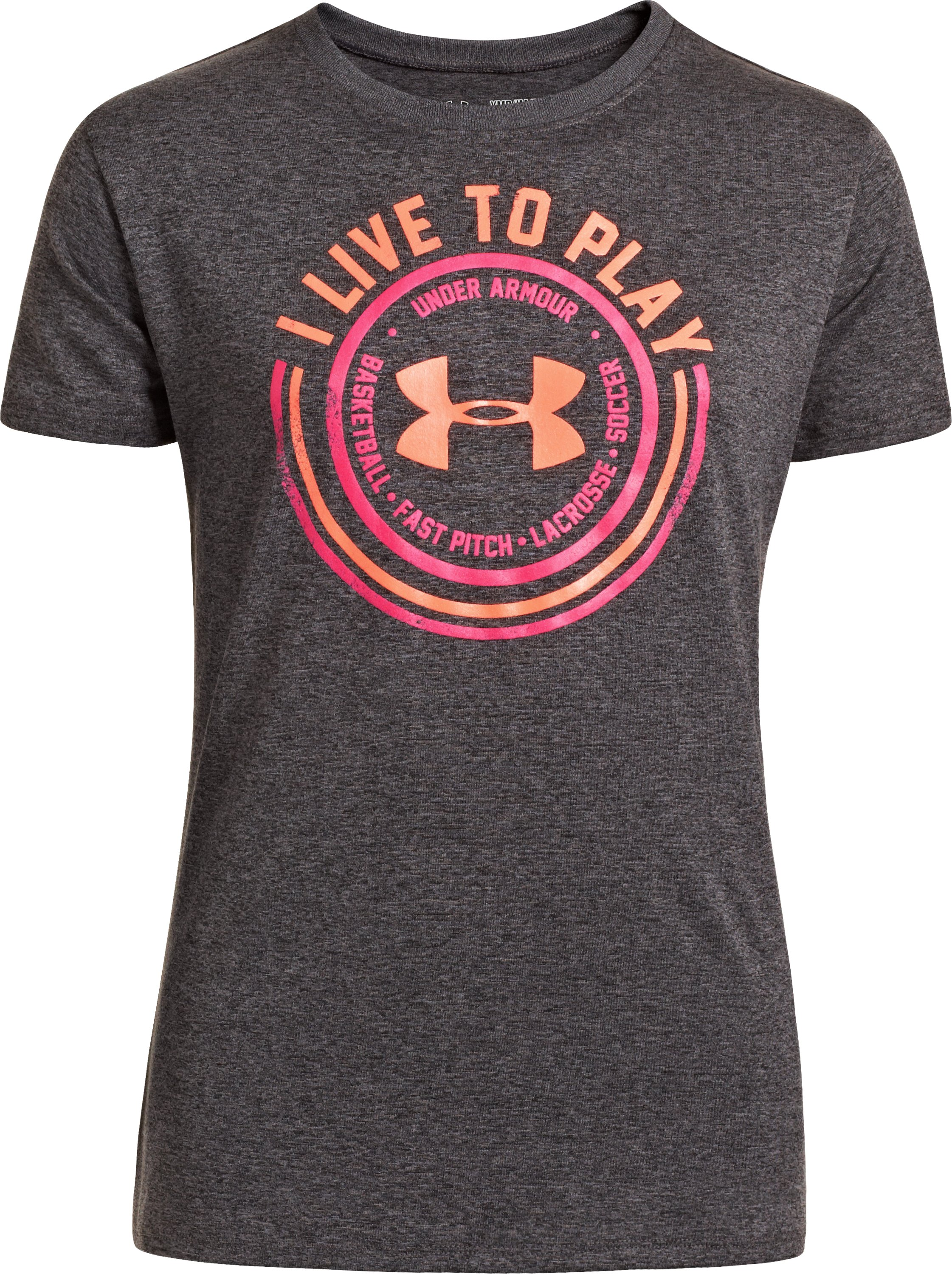 Girls' UA Play Sports T-Shirt, Carbon Heather, zoomed image