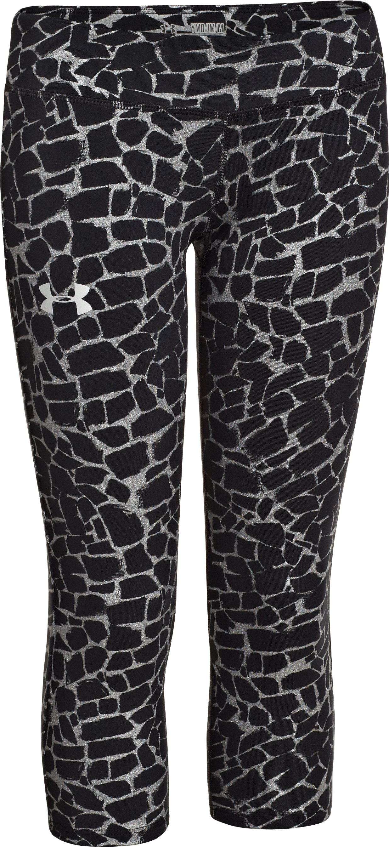 Girls' HeatGear® Armour Printed Capri, Black